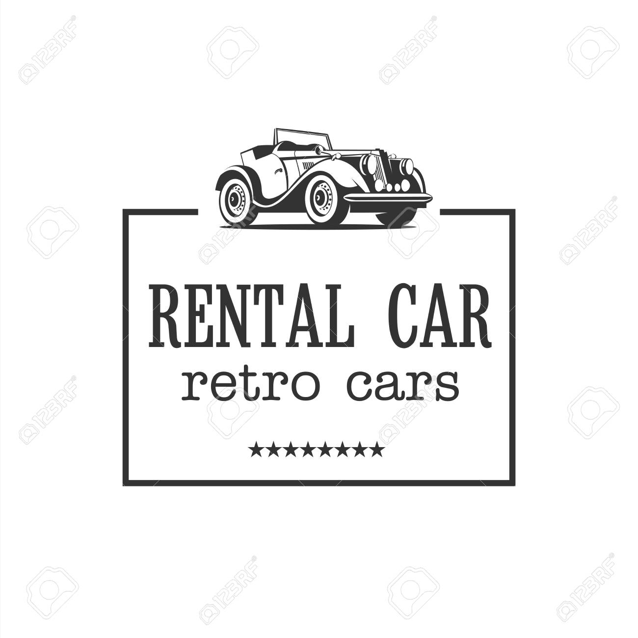 Retro Car. Vintage Cars For Rent. Vector Logo. Royalty Free Cliparts ...