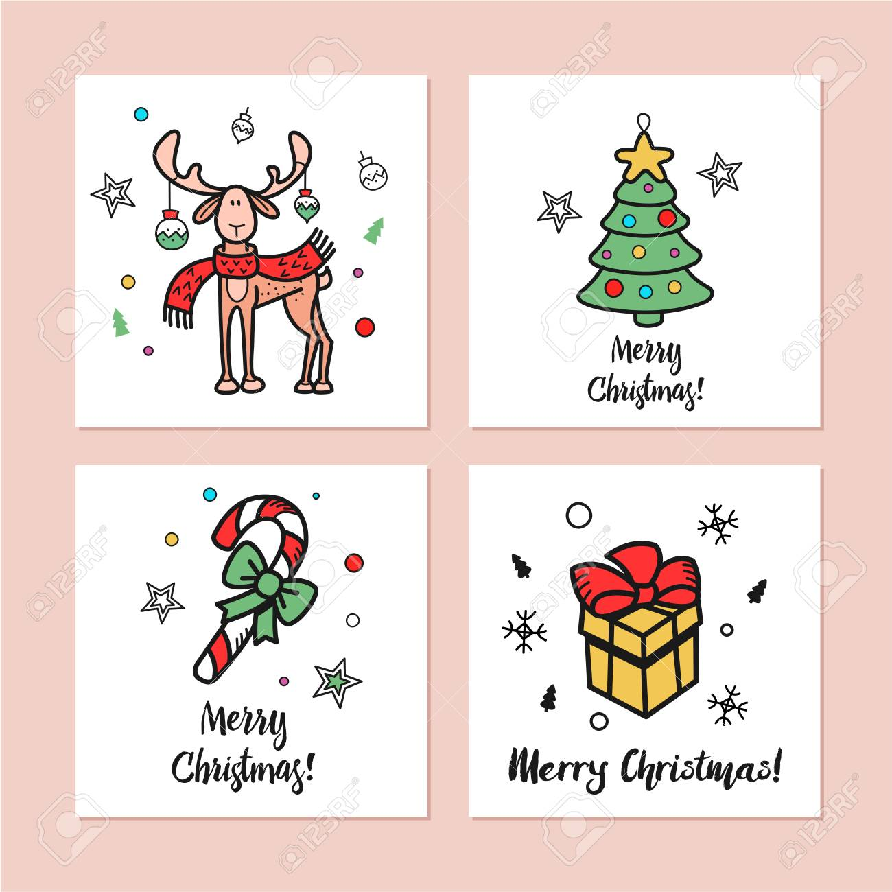 a set of christmas cards drawn by hand happy new year merry royalty free cliparts vectors and stock illustration image 89057329 a set of christmas cards drawn by hand happy new year merry