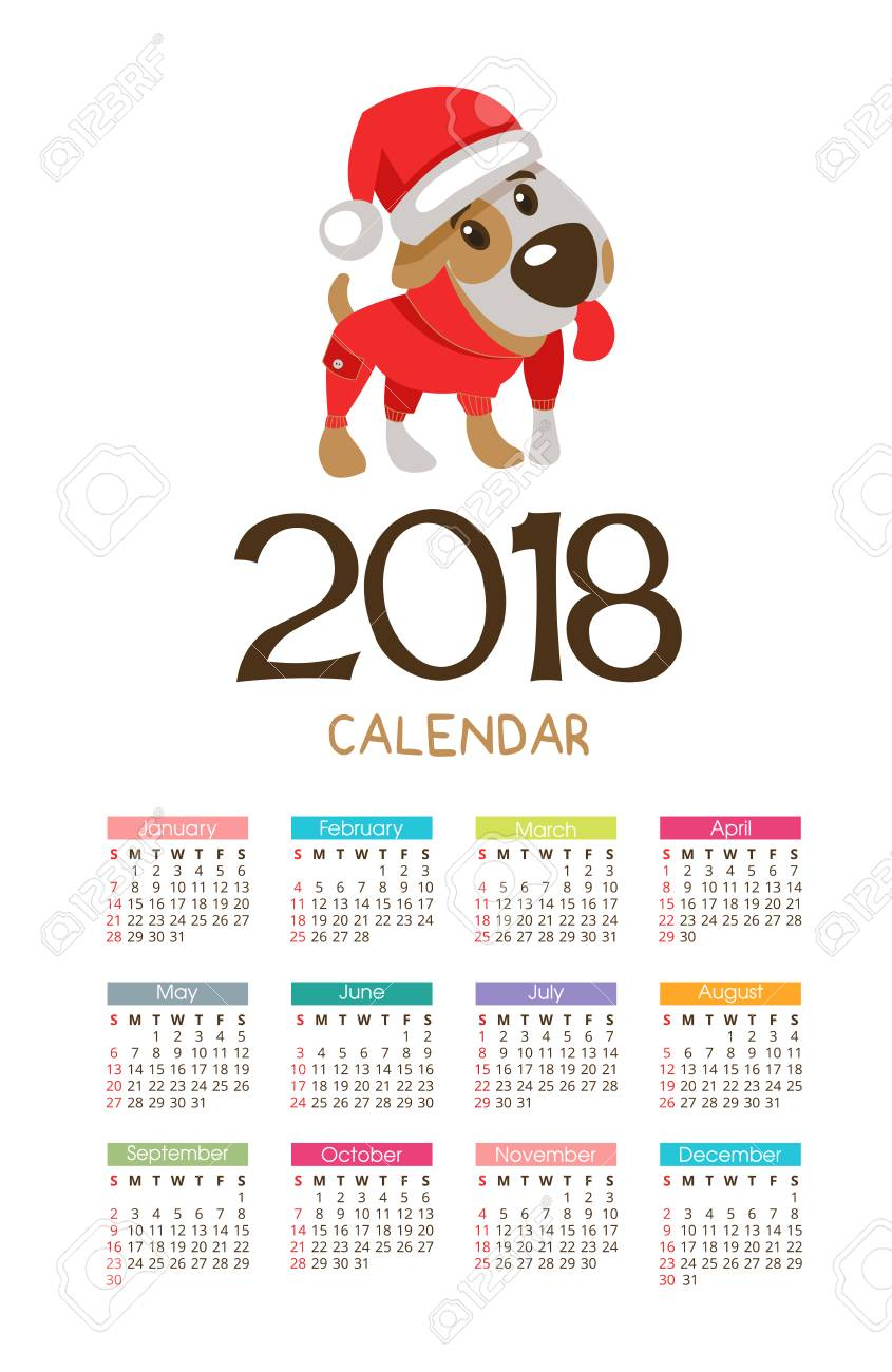 The Calendar For The New 2018 Symbol Of The Year Of The Dog
