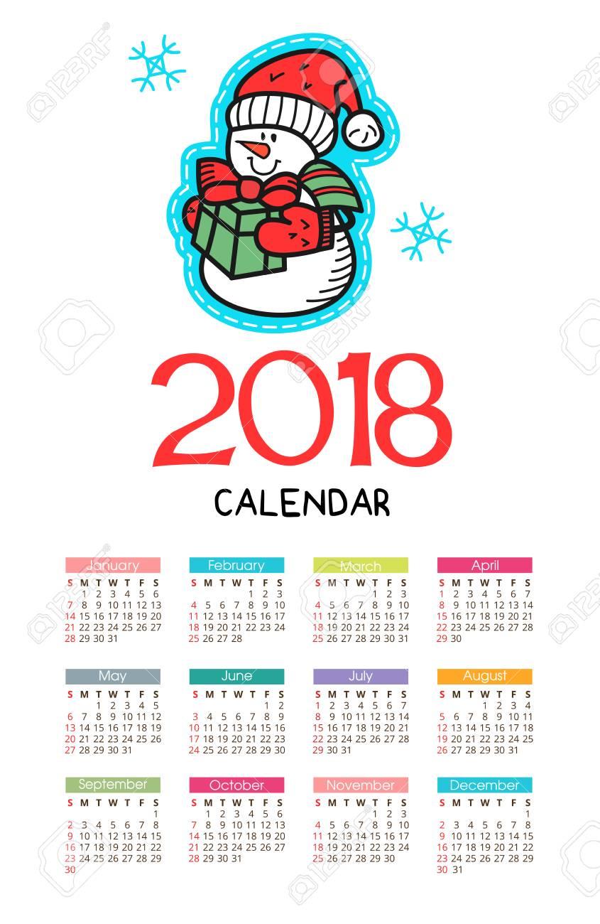 natale 2018 calendario Calendar 2018. Vector File. The Isolated Image On A Christmas  natale 2018 calendario