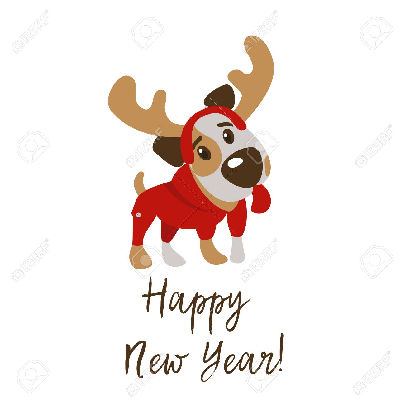Happy New Year And Merry Christmas Greeting Card With Funny