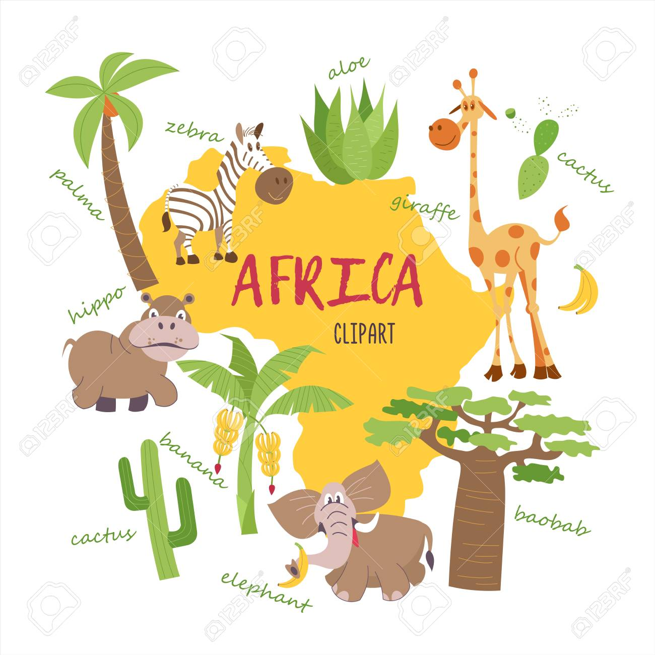 Africa Clipart. Nature And Animals Of Africa On The Map. Giraffes