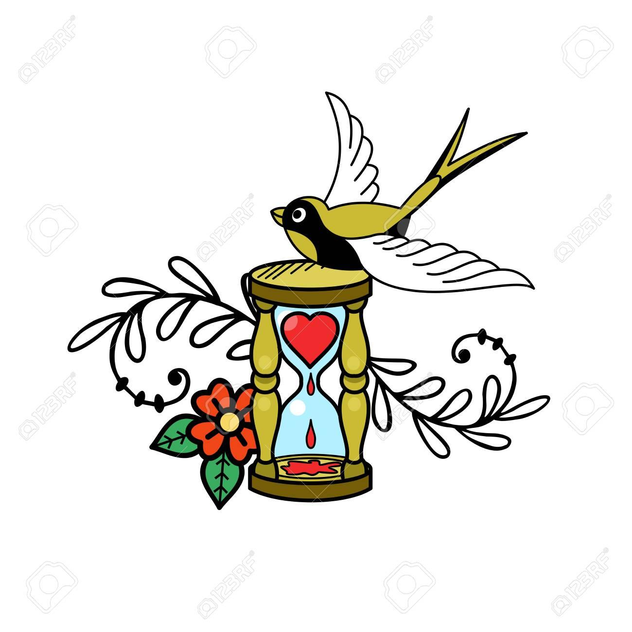 A symbol of love hourglass with bleeding heart and a bird vector a symbol of love hourglass with bleeding heart and a bird vector illustration in buycottarizona