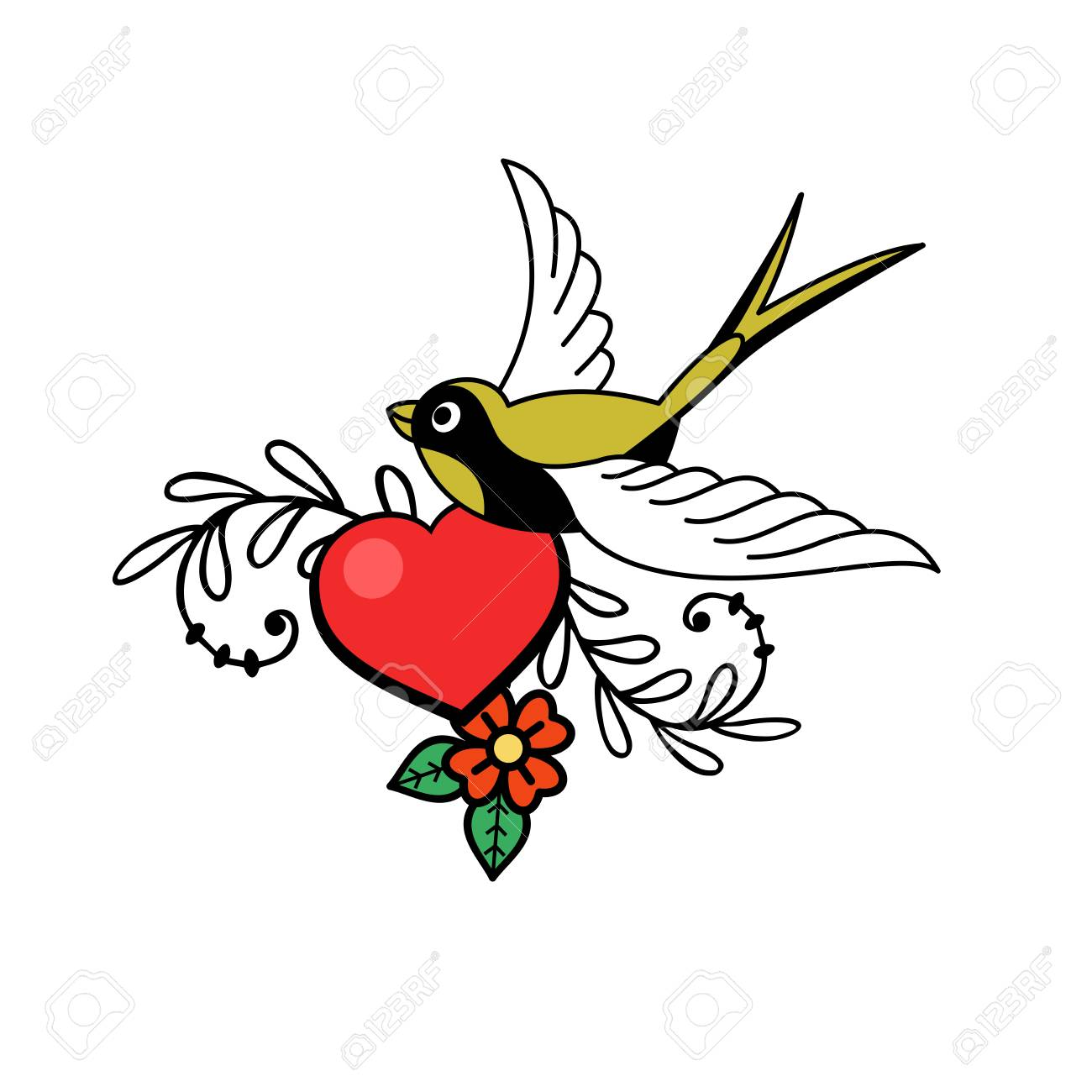 A Symbol Of Love Heart And Bird Vector Illustration Isolated