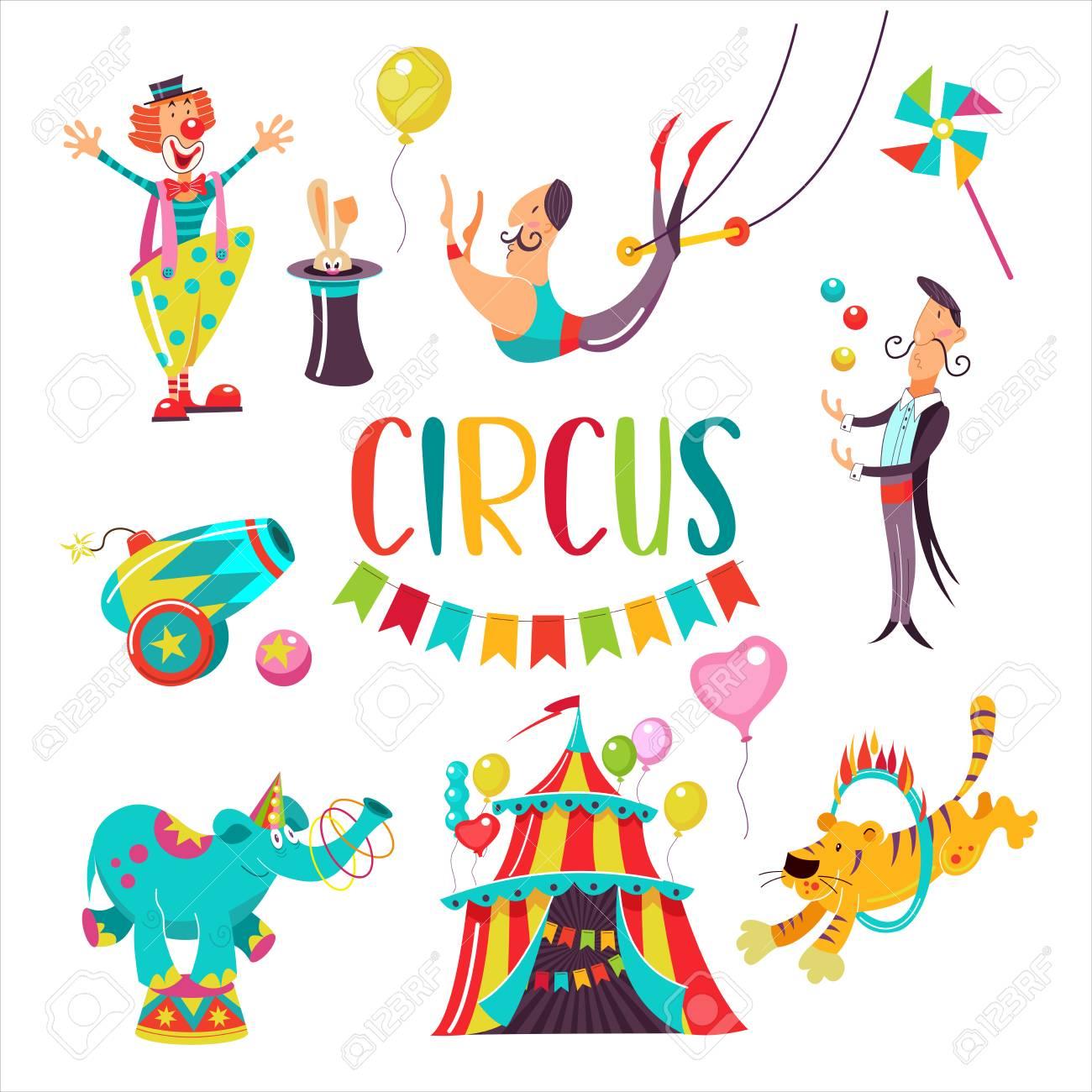 Cirque Grand Ensemble De Cliparts Vectoriels Isole Sur Fond