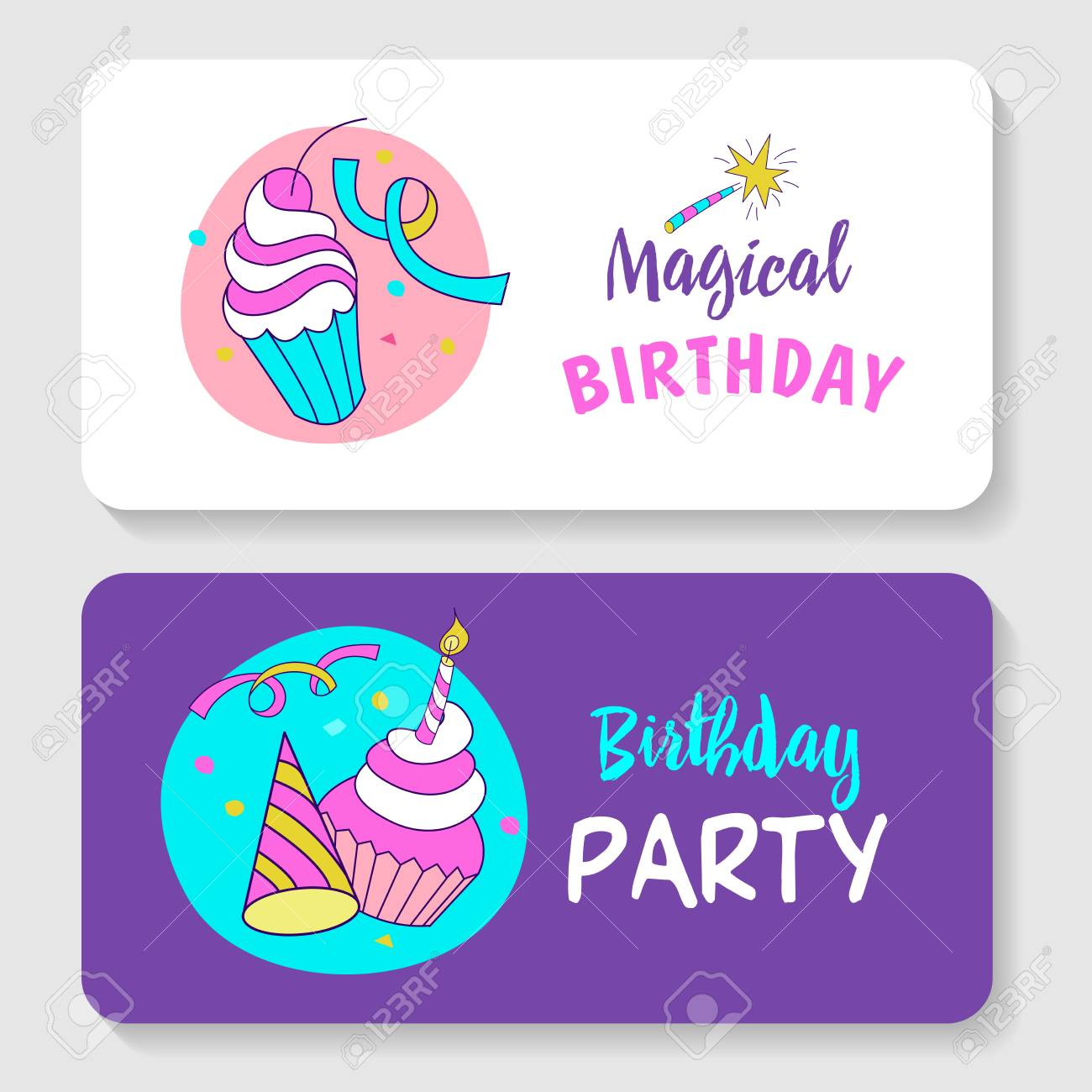 Greeting Card Invitation Magic Birthday Cakes With Candles Streamers Wand