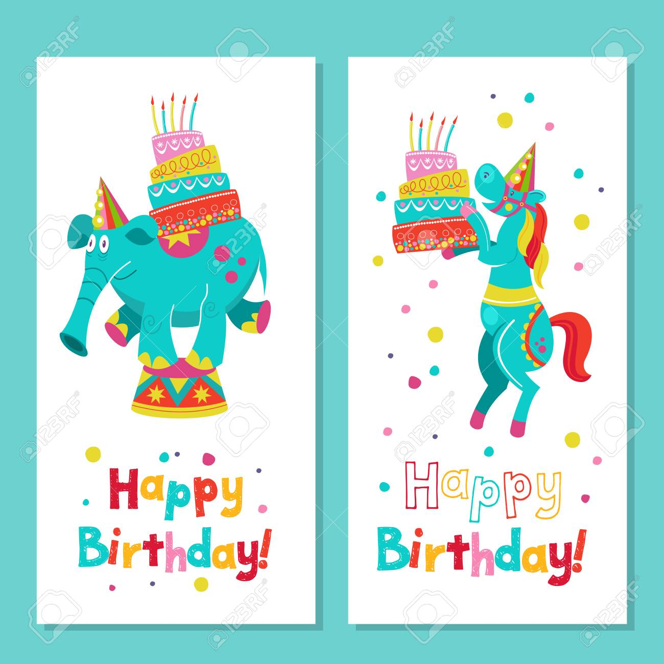 Happy Birthday! Greeting Template. A Set Of Holiday Vector Elements ...