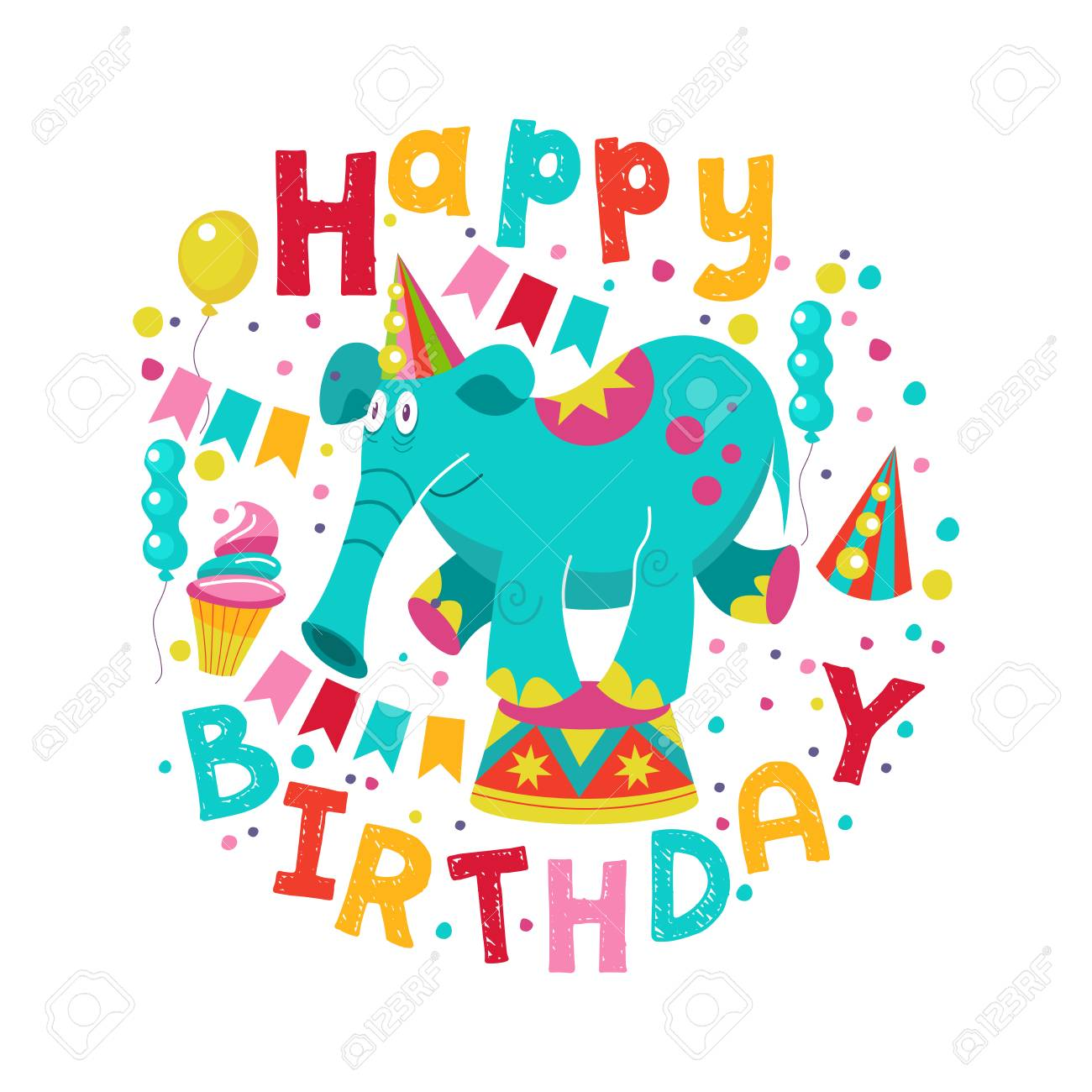 Happy Birthday Greeting Template A Set Of Holiday Vector Elements Fun Circus Elephant