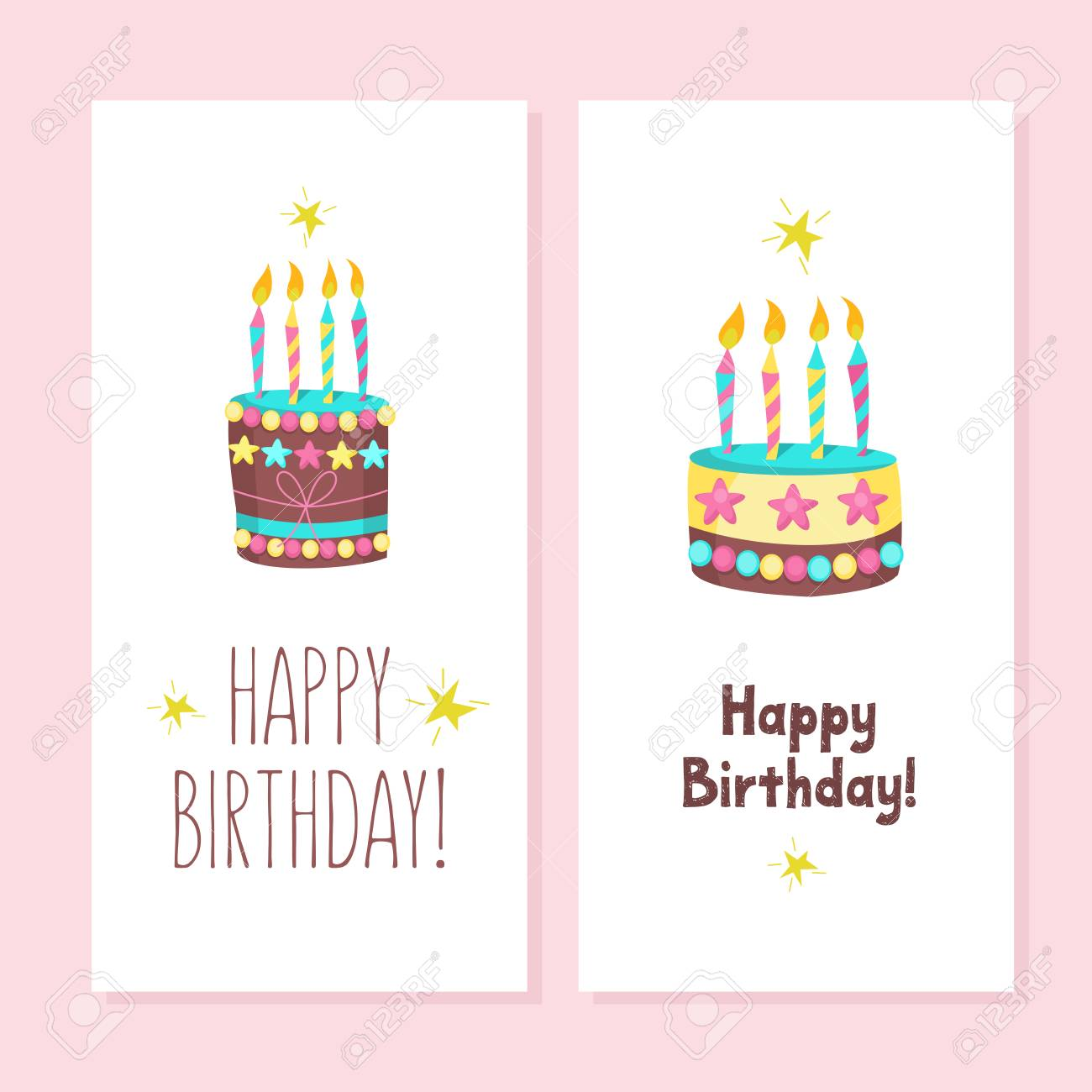 Happy Birthday Greeting Cards Cute Cakes With Candles Vector