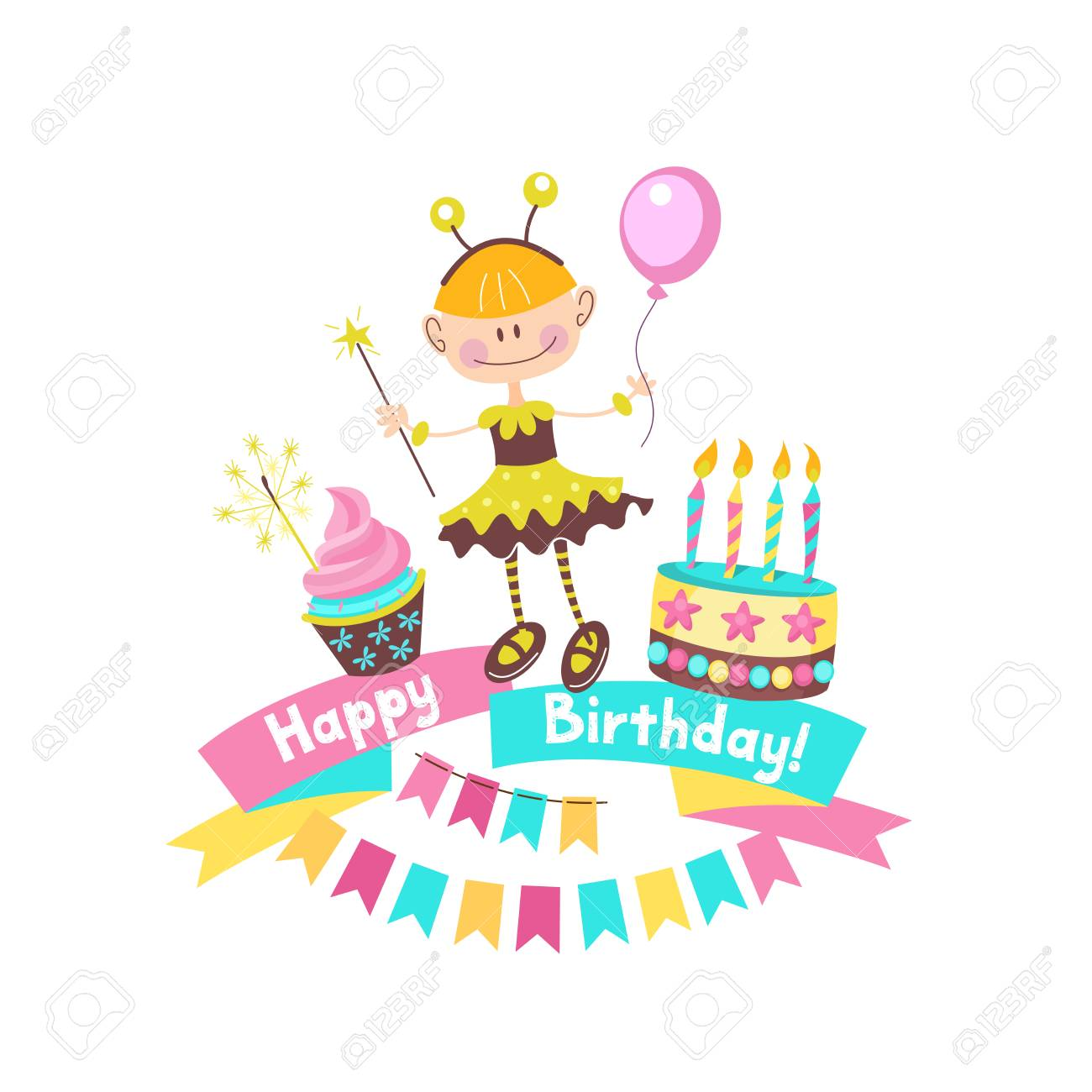 Happy Birthday Greeting Cards Cake With Candles Ribbons Balloons Banners