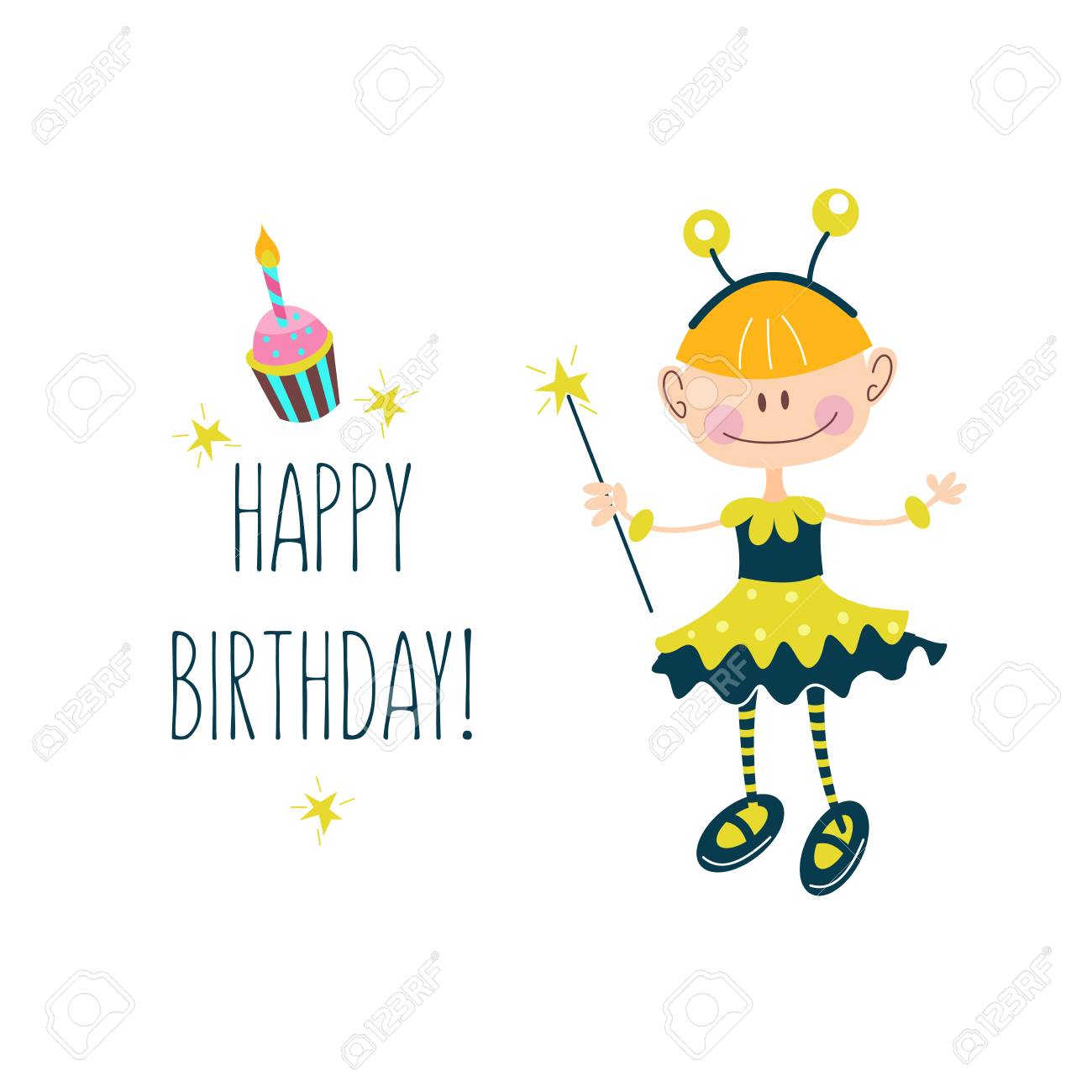 Happy Birthday Greeting Cards Cute Girls Having Fun And Delicious Cakes With Candles