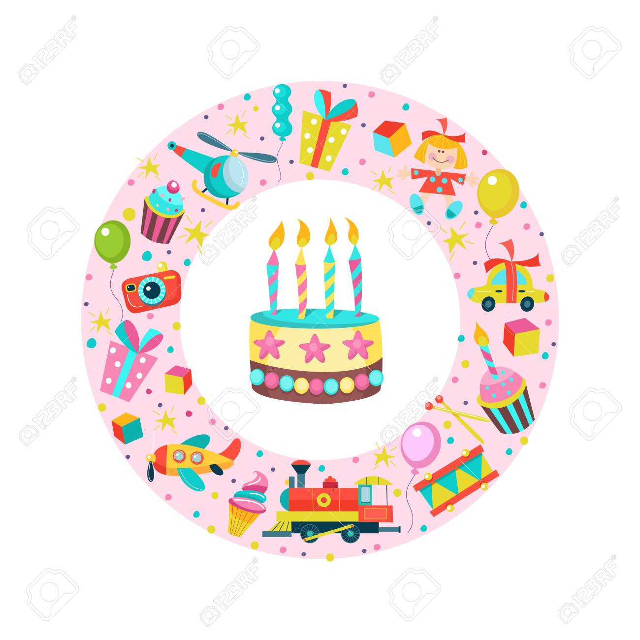 Happy Birthday Greeting Cards Set Of Vector Cliparts Oriented In A Circle Toys