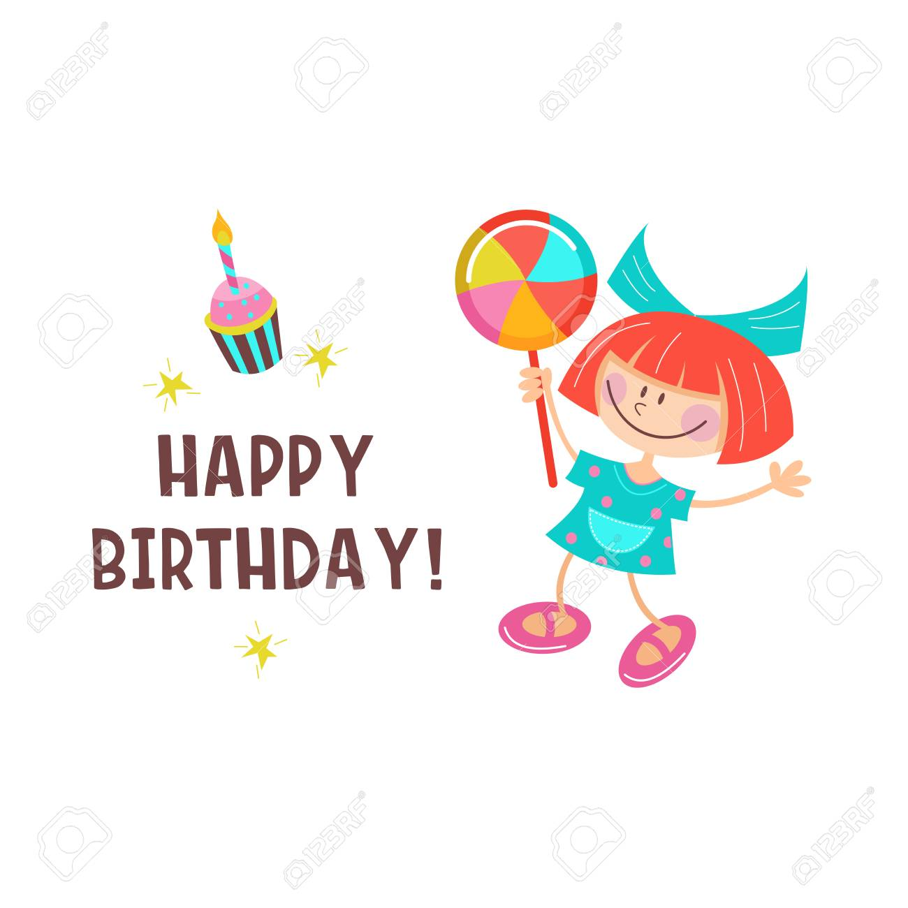 Happy Birthday Greeting Cards Cute Girls Having Fun And Delicious