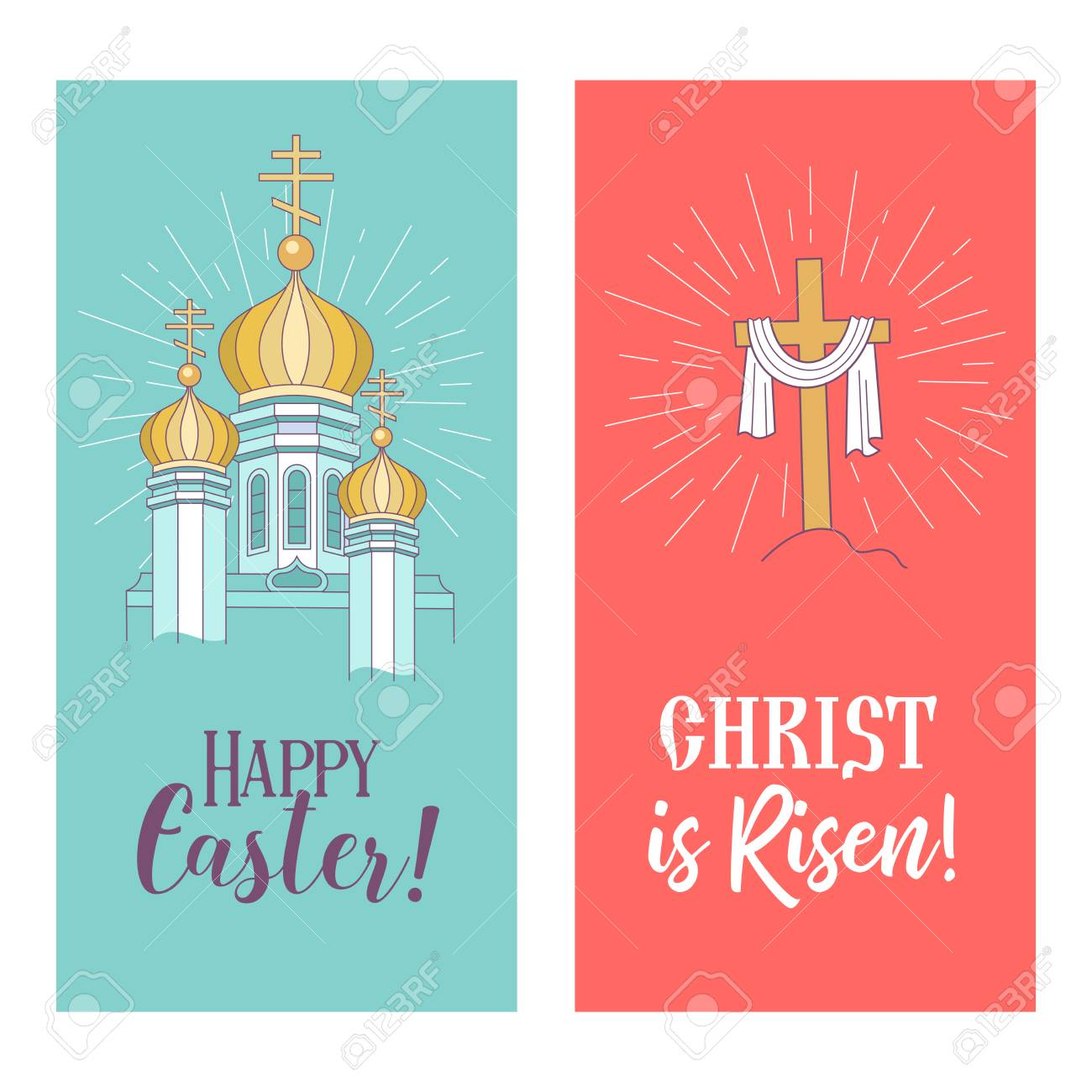 Happy Easter He Is Risen Vector Illustration Greeting Card