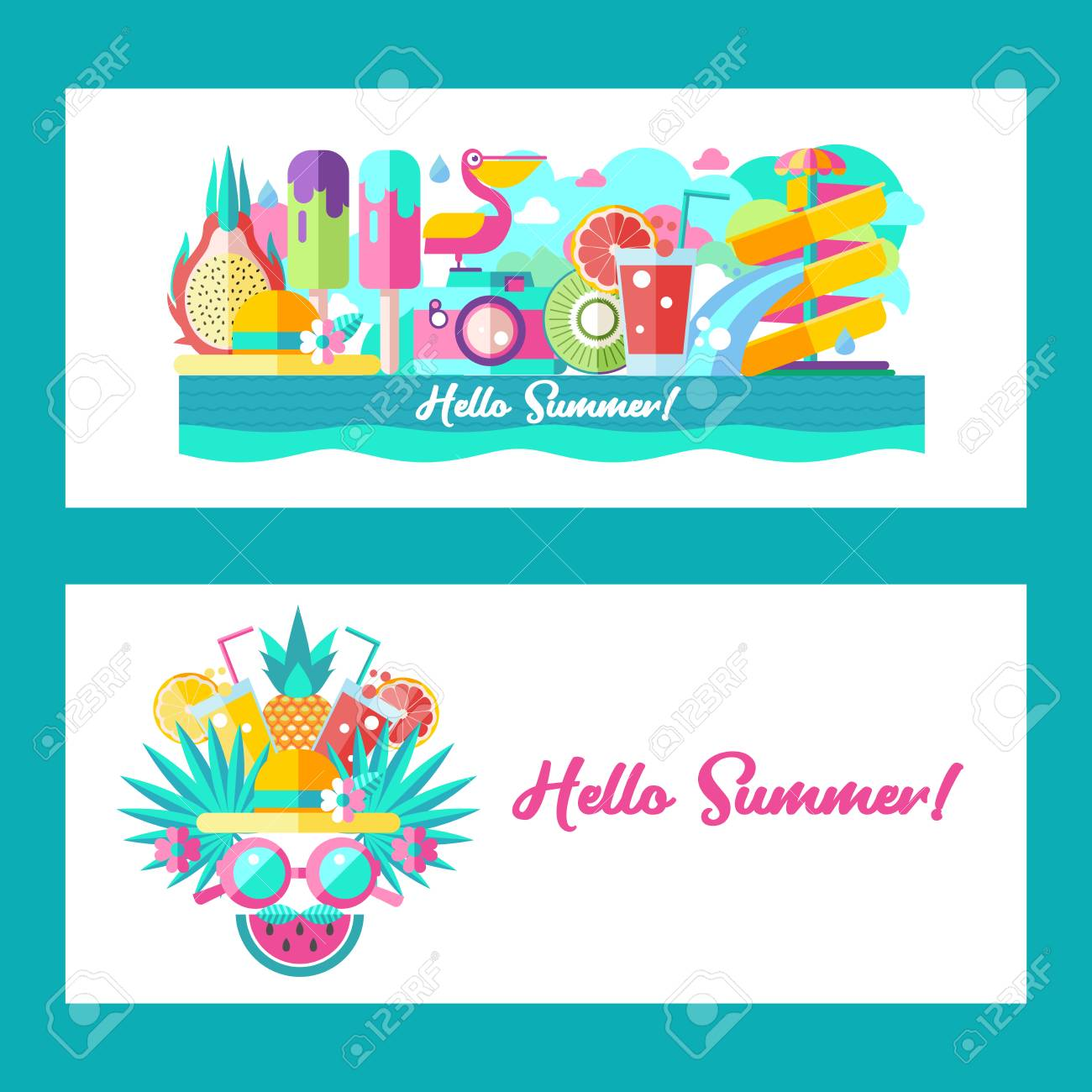 Hello Summer Landscape Design Vector Illustration A Set Of Clipart On The Theme