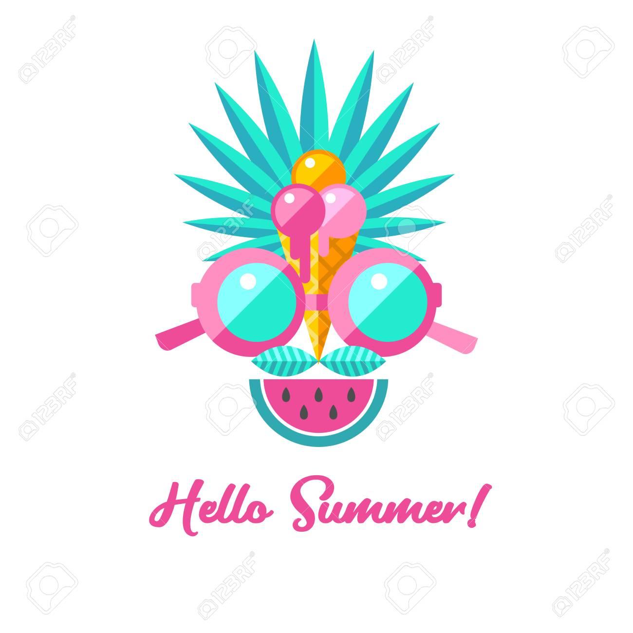 hello summer vector illustration a set of clipart on the theme rh 123rf com summer vector files summer vector art