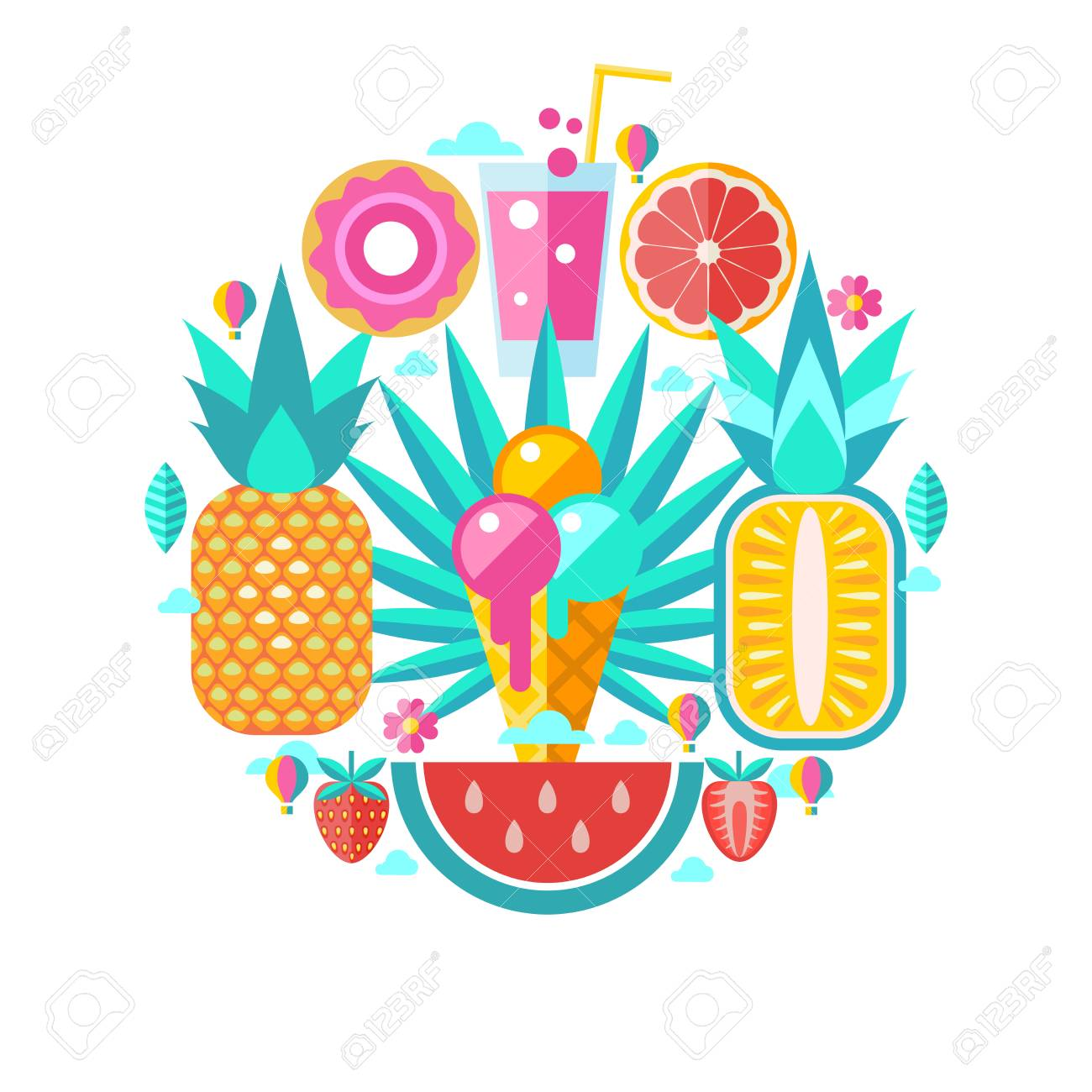 Hello Summer Concept Colored Vector Illustration Set Of Clipart On The Theme
