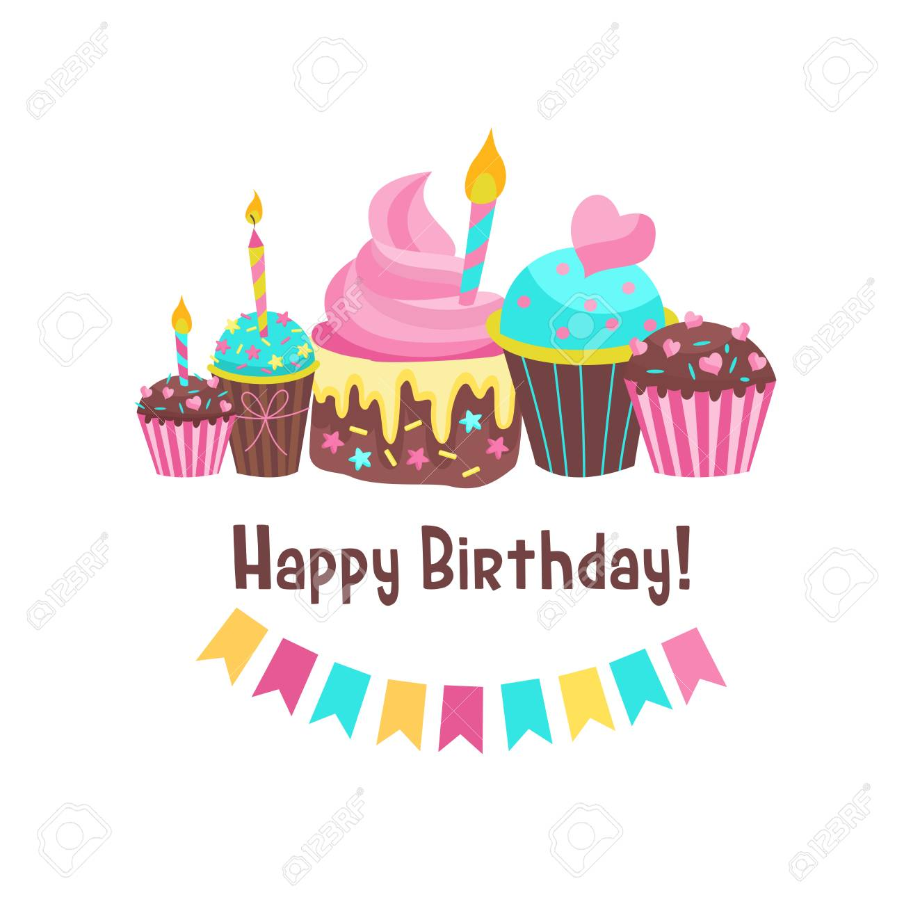 Happy Birthday Greeting Card Background Design Of Lovely Cakes With Candles Stock Vector
