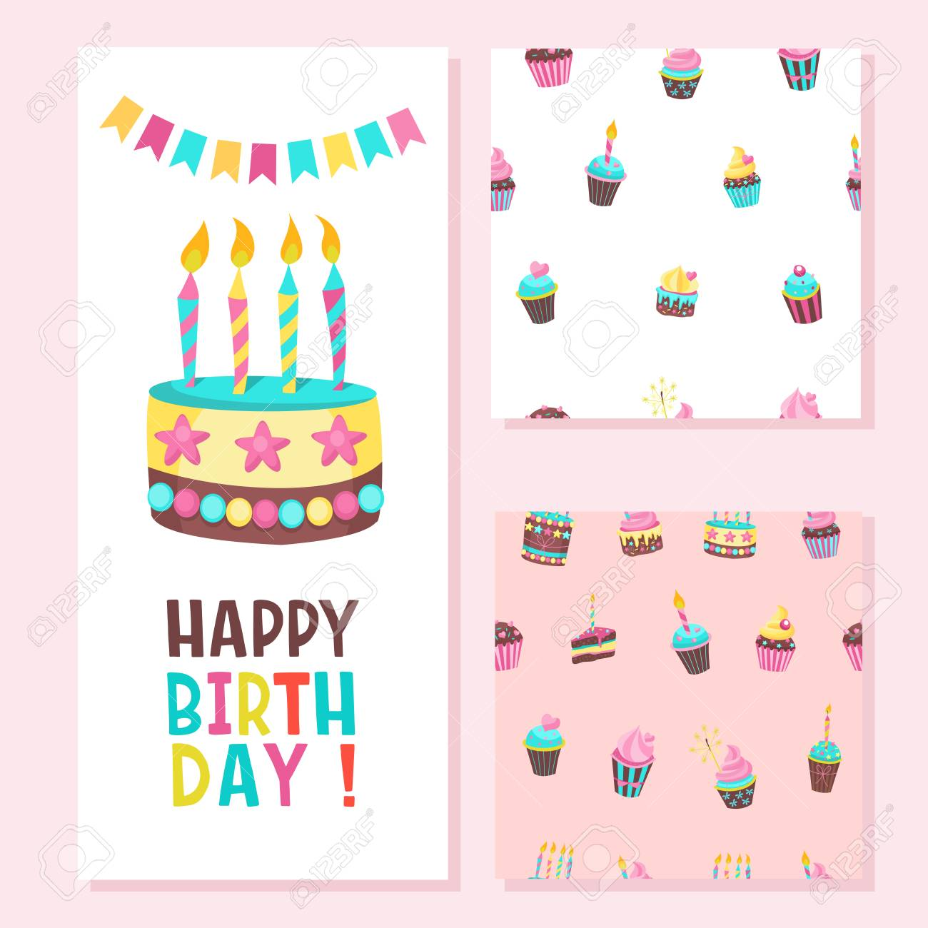 Happy Birthday Greeting Card Two Seamless Patterns Lovely Cakes With Candles For