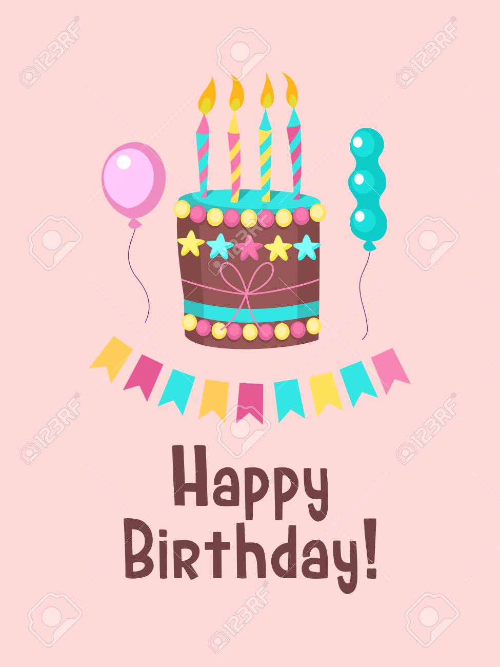Happy birthday greeting card design of lovely birthday cake happy birthday greeting card design of lovely birthday cake with candles stock vector 97930148 m4hsunfo