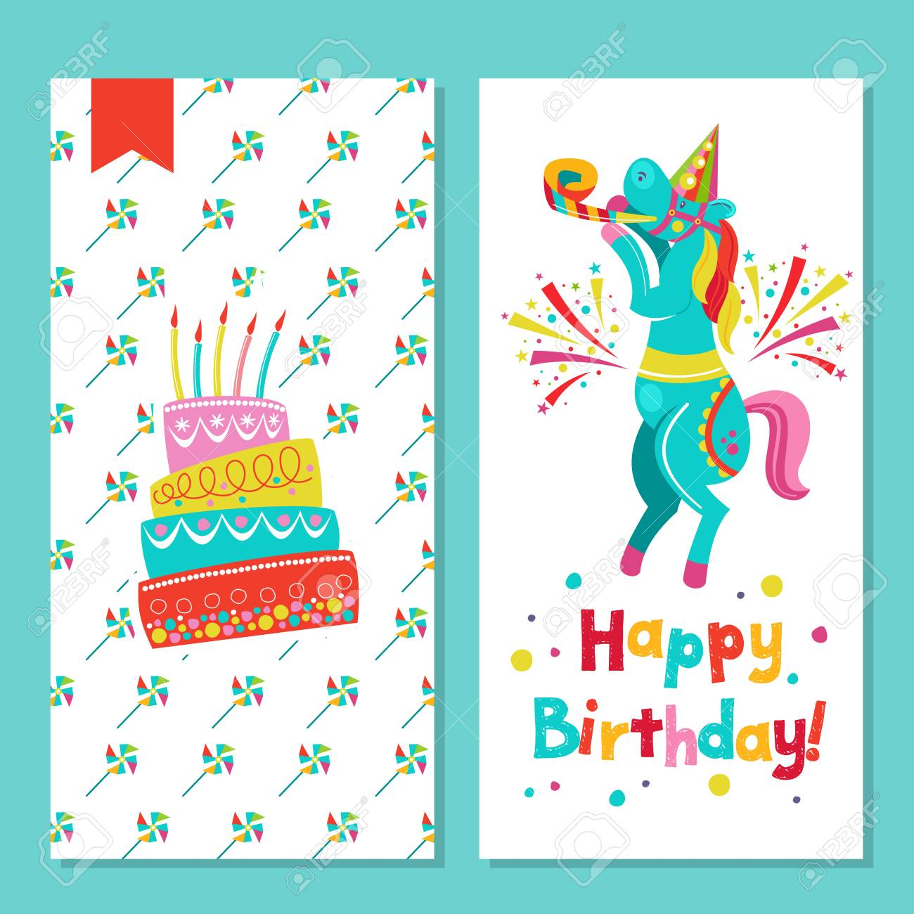 Happy Birthday Greeting Card With Cake And Funny Circus Horse Royalty Free Cliparts Vectors And Stock Illustration Image 97826751