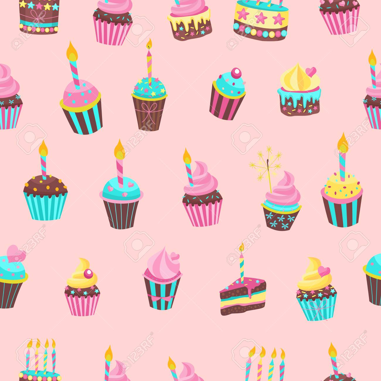 Seamless Pattern Beautiful Cute Birthday Cakes With Candles