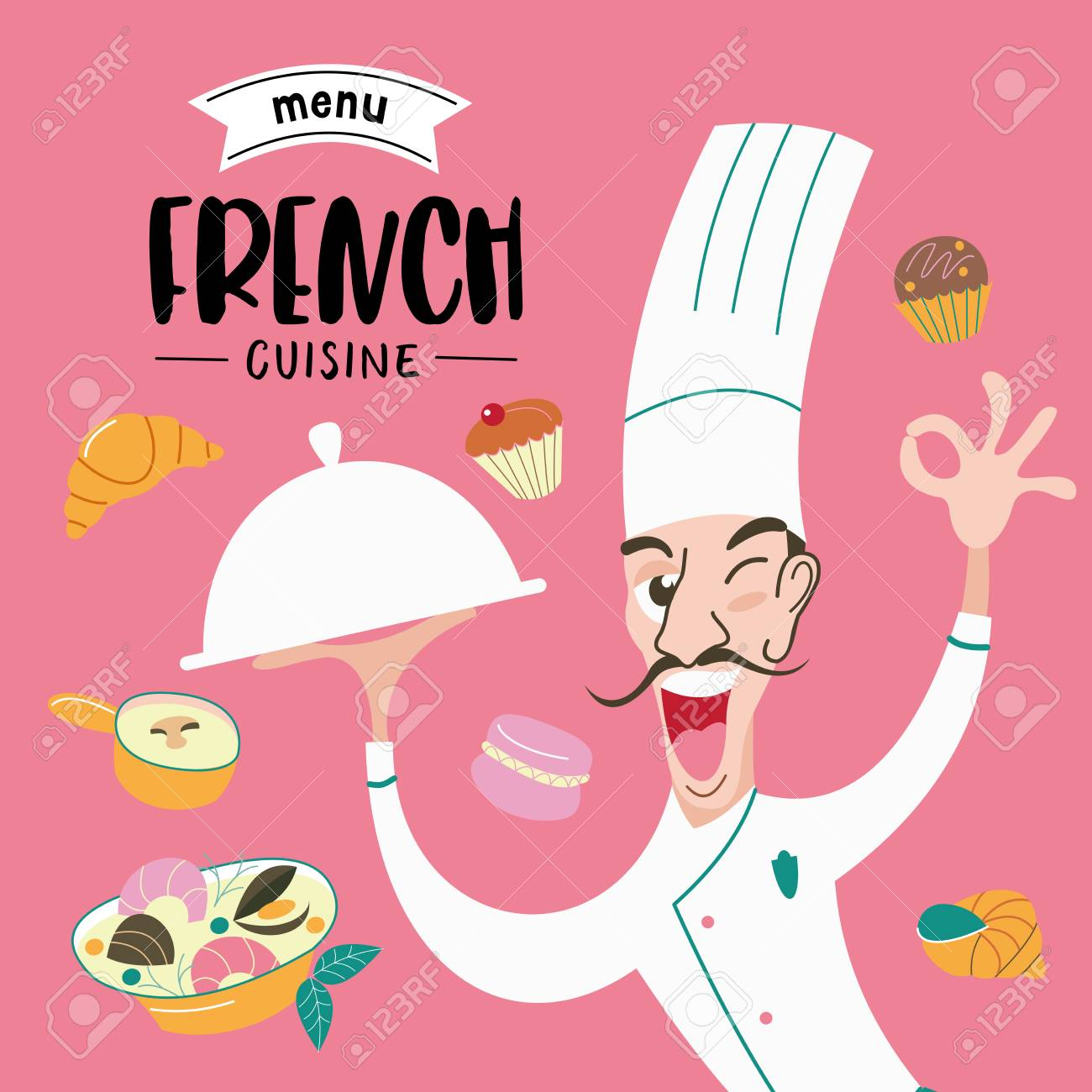 French cuisine  The cook holds the dish in his hand  Menu template,