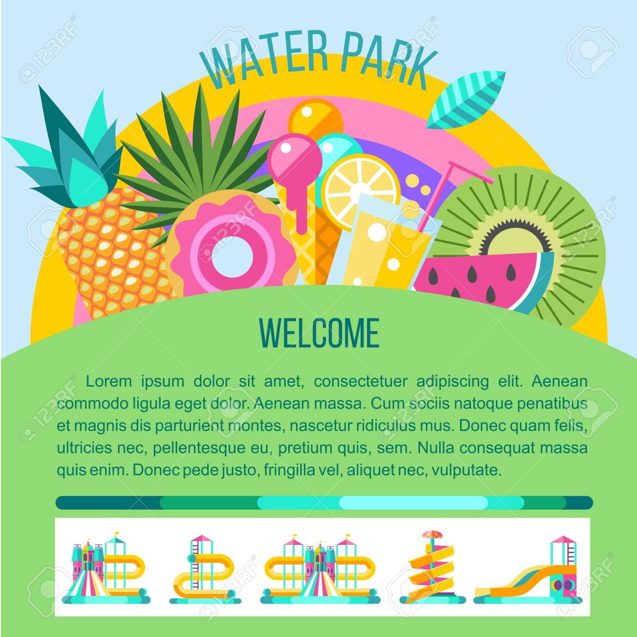 Water Slides Summer Fun On The Vacation Tropical Fruits Nature Recreation Vector Clipart