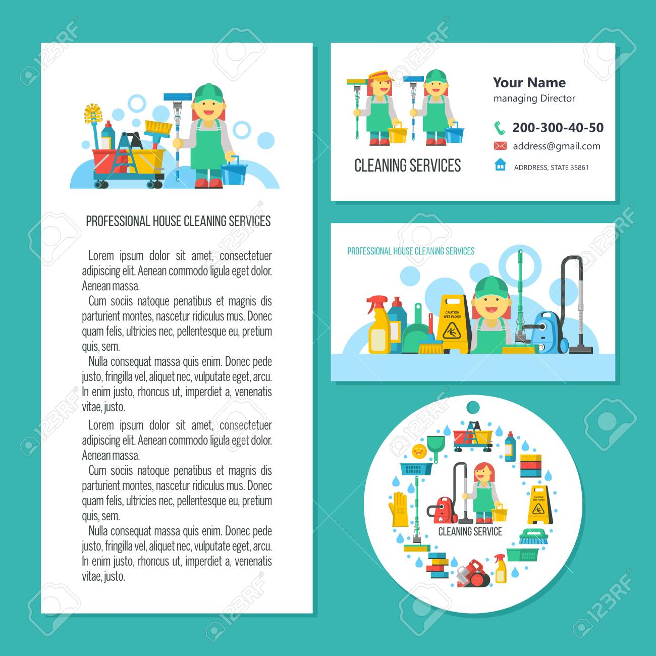 Cleaning Service A Set Of Vector Symbols Professional Cleaning