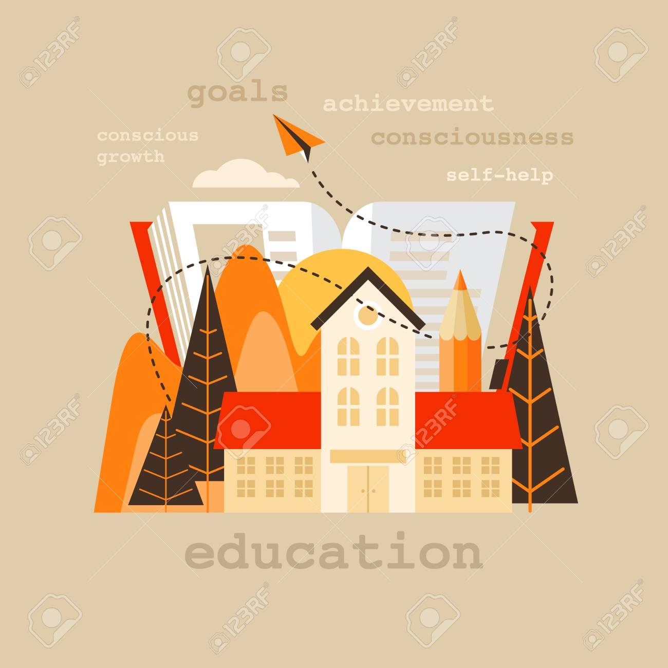 School and education vector flat design single isolated icon,