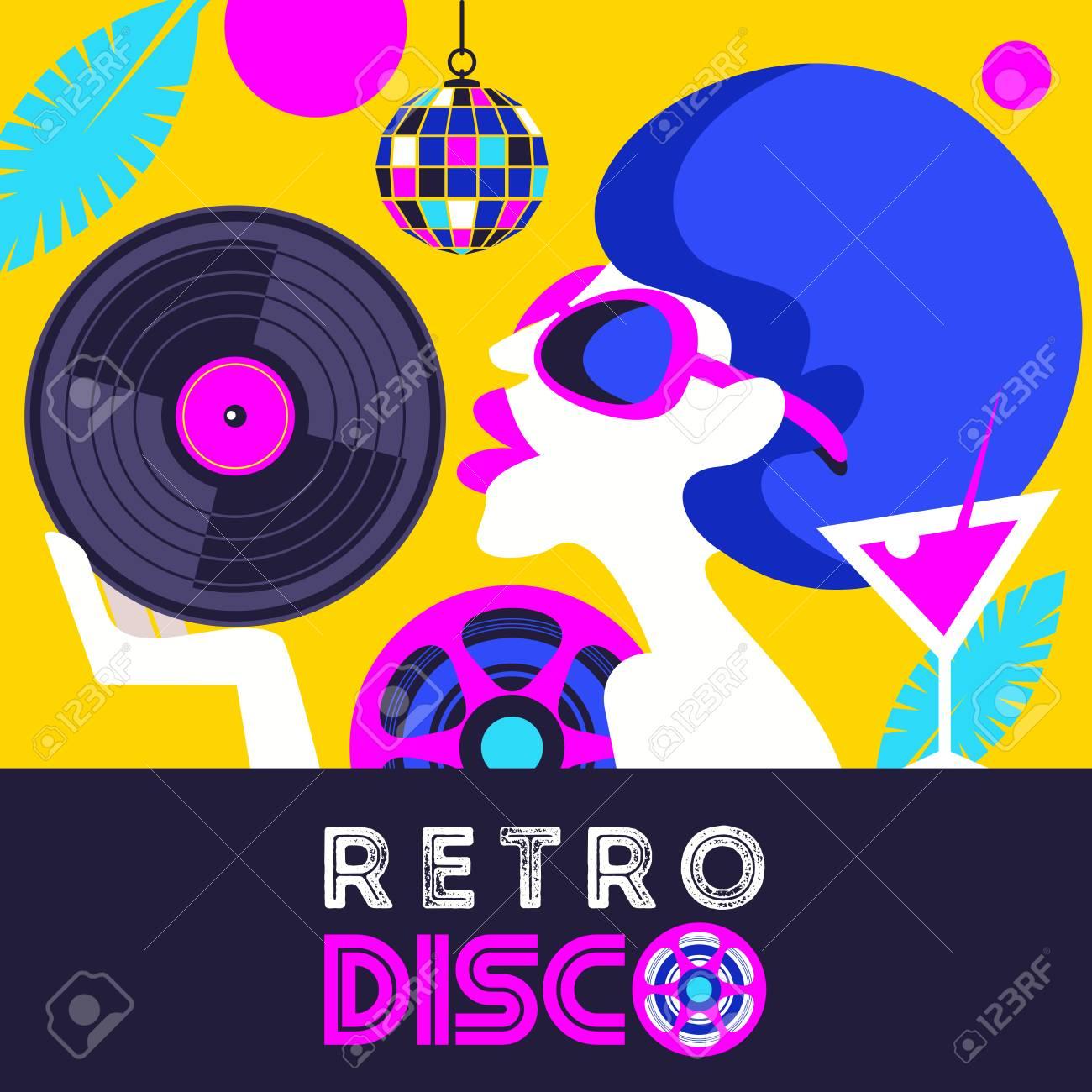 Super Retro Disco Party. Colorful Vector Illustration, Poster. Beautiful RI-23
