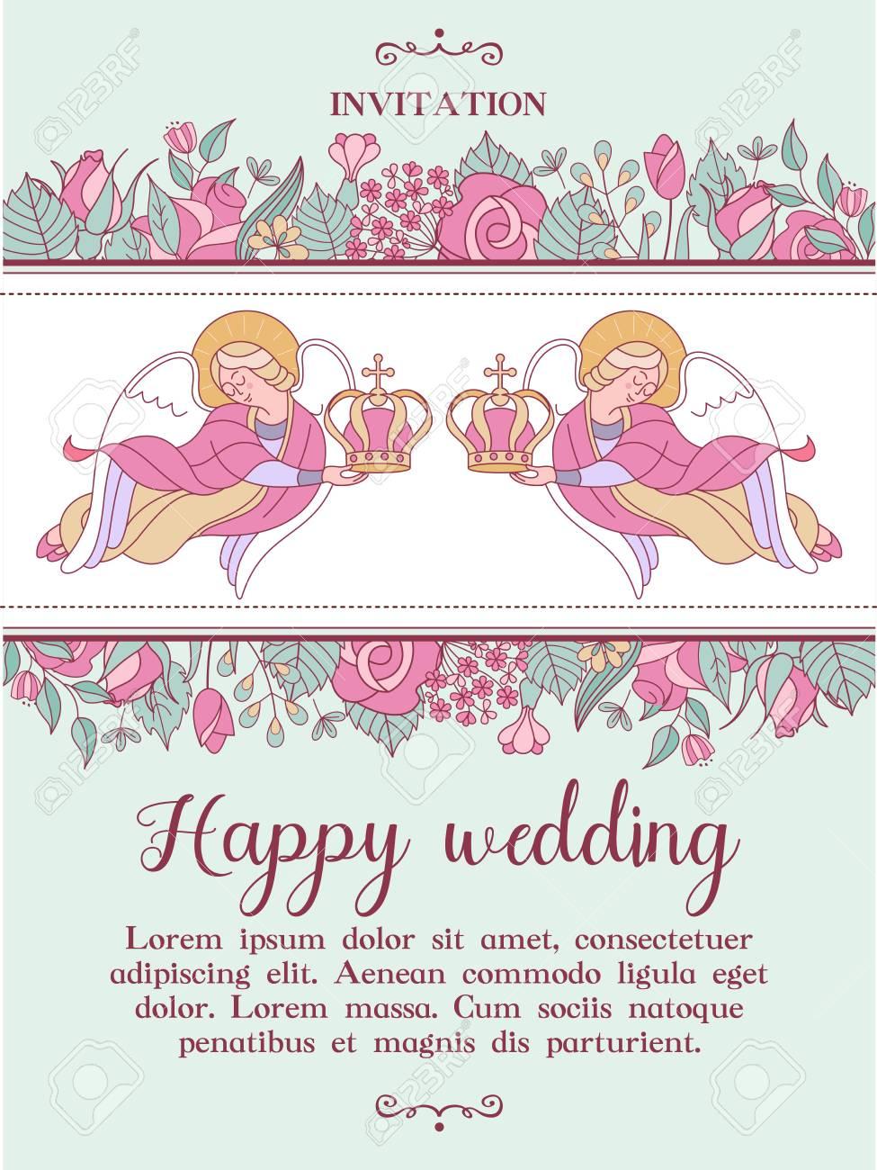 Happy Weddings Wedding Card Wedding Invitation Two Angels