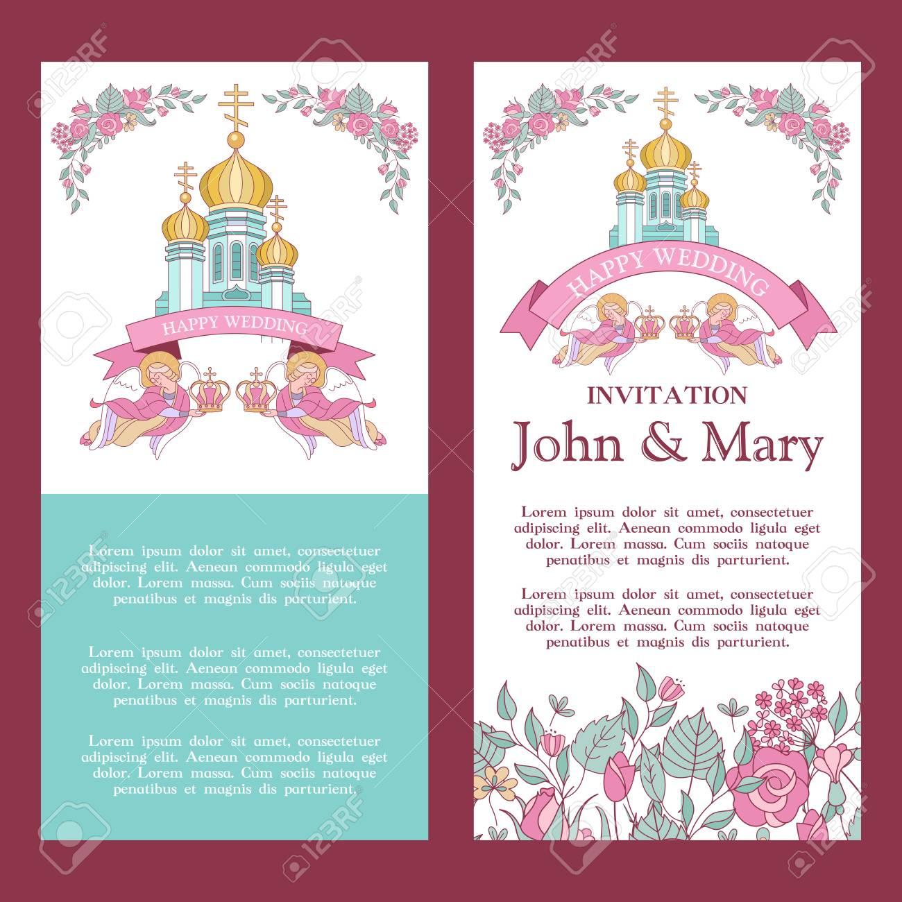 Elegant Wedding Invitation Vector Illustration Greeting Card