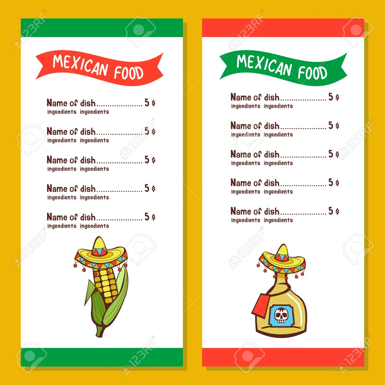 mexican restaurant menu template corn on the cob and a bottle