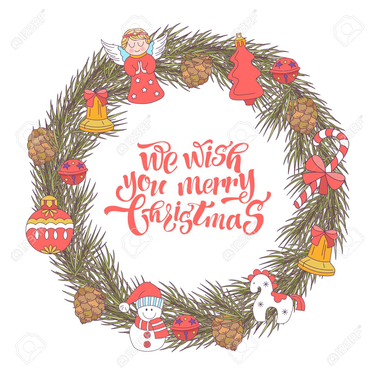 Merry Christmas. Vector Christmas Card. Fir Wreath Decorated ...