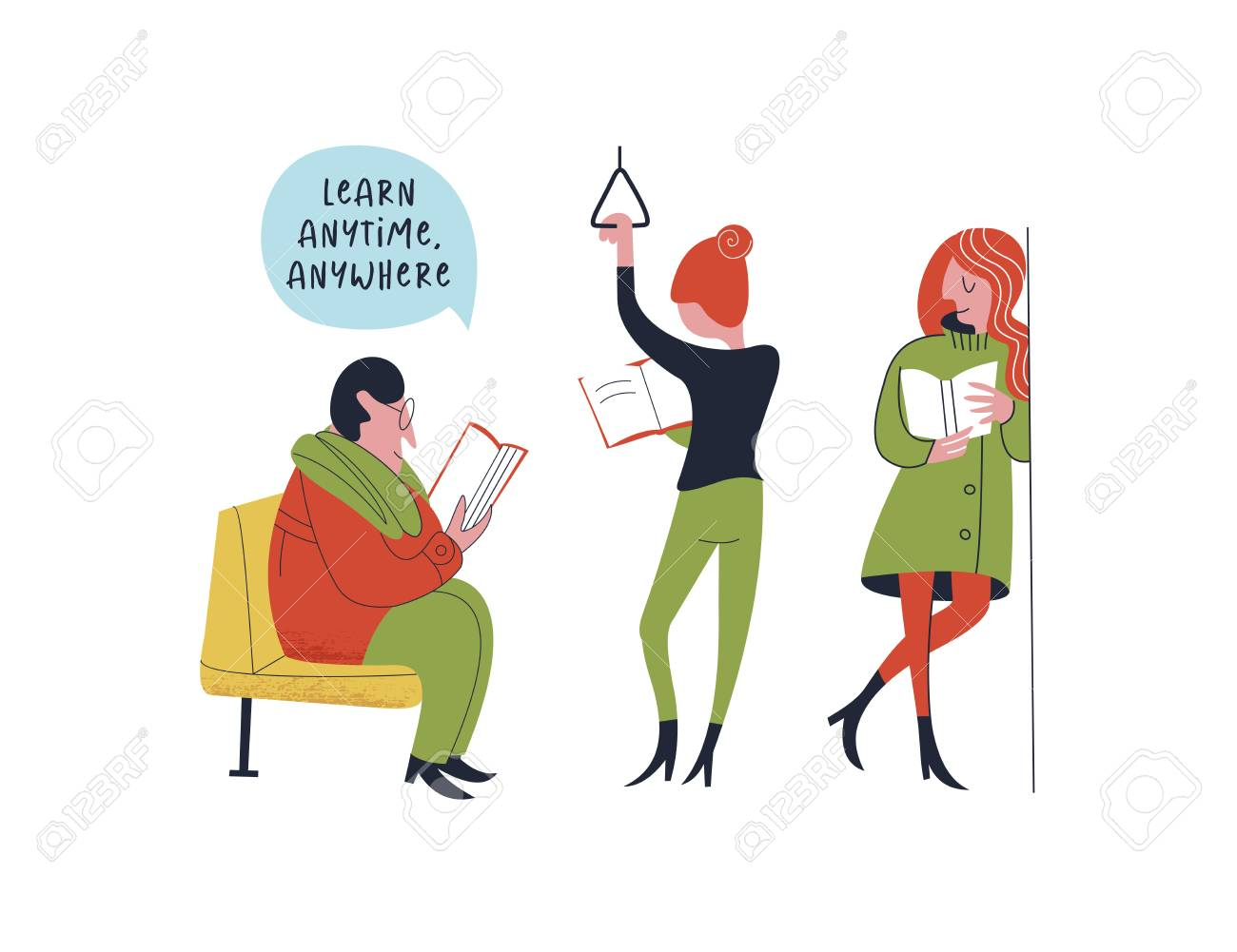Learn Anytime Anywhere. Vector Illustration. A Group Of People, A ...