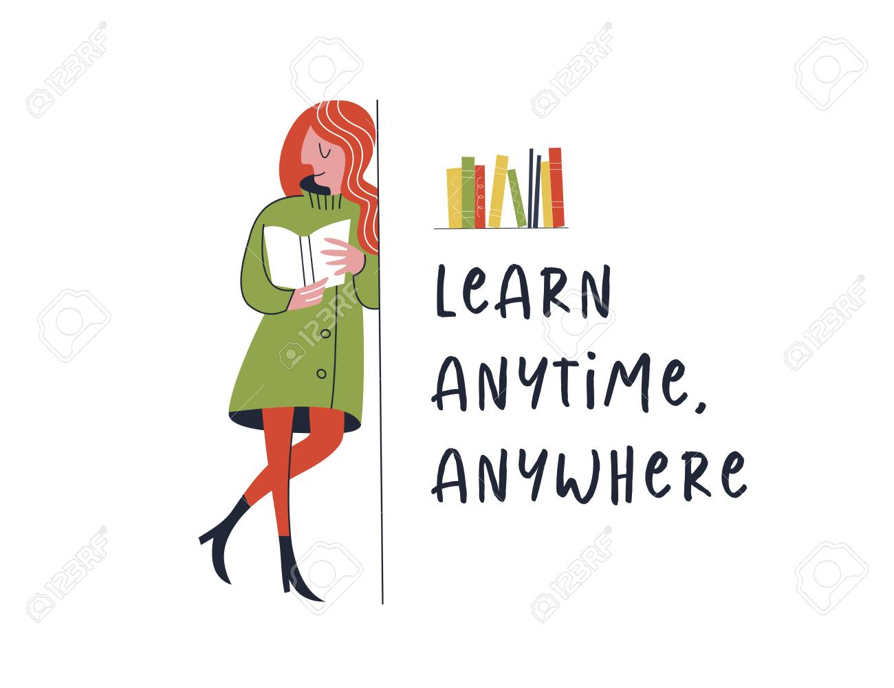 Learn Anytime Anywhere. Vector Illustration. Learn Anytime ...