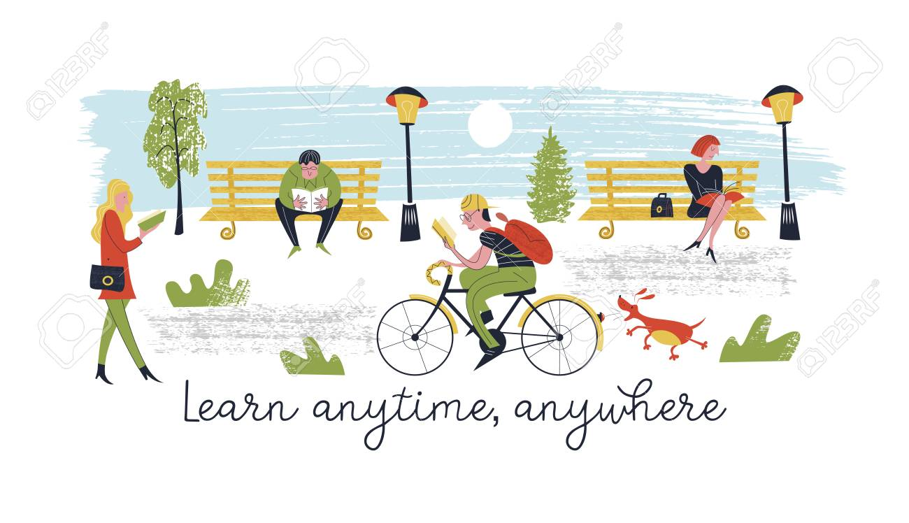 Learn Anytime Anywhere. Vector Illustration. A Set Of Vector ...