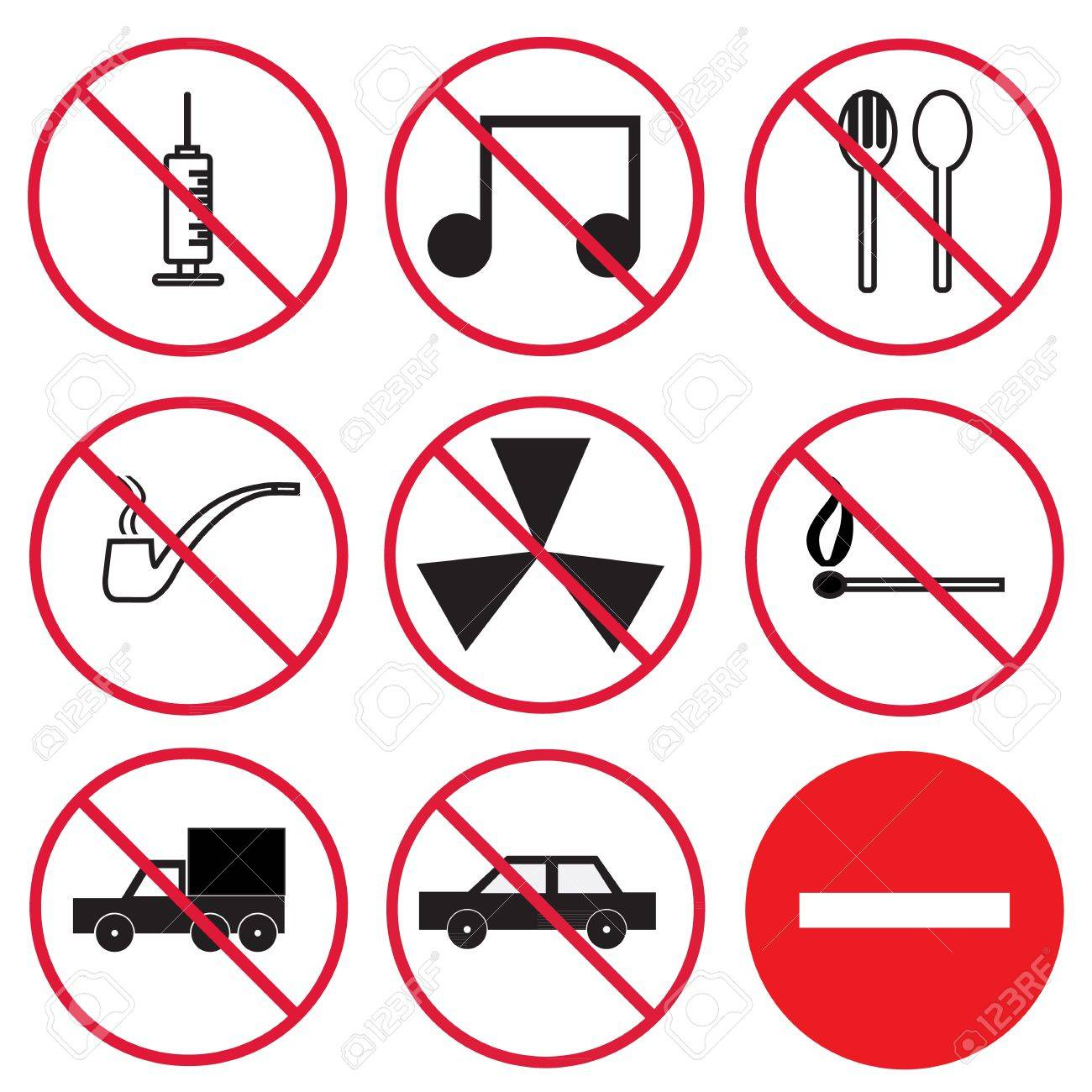 Prohibition signs, set Stock Vector - 21423265