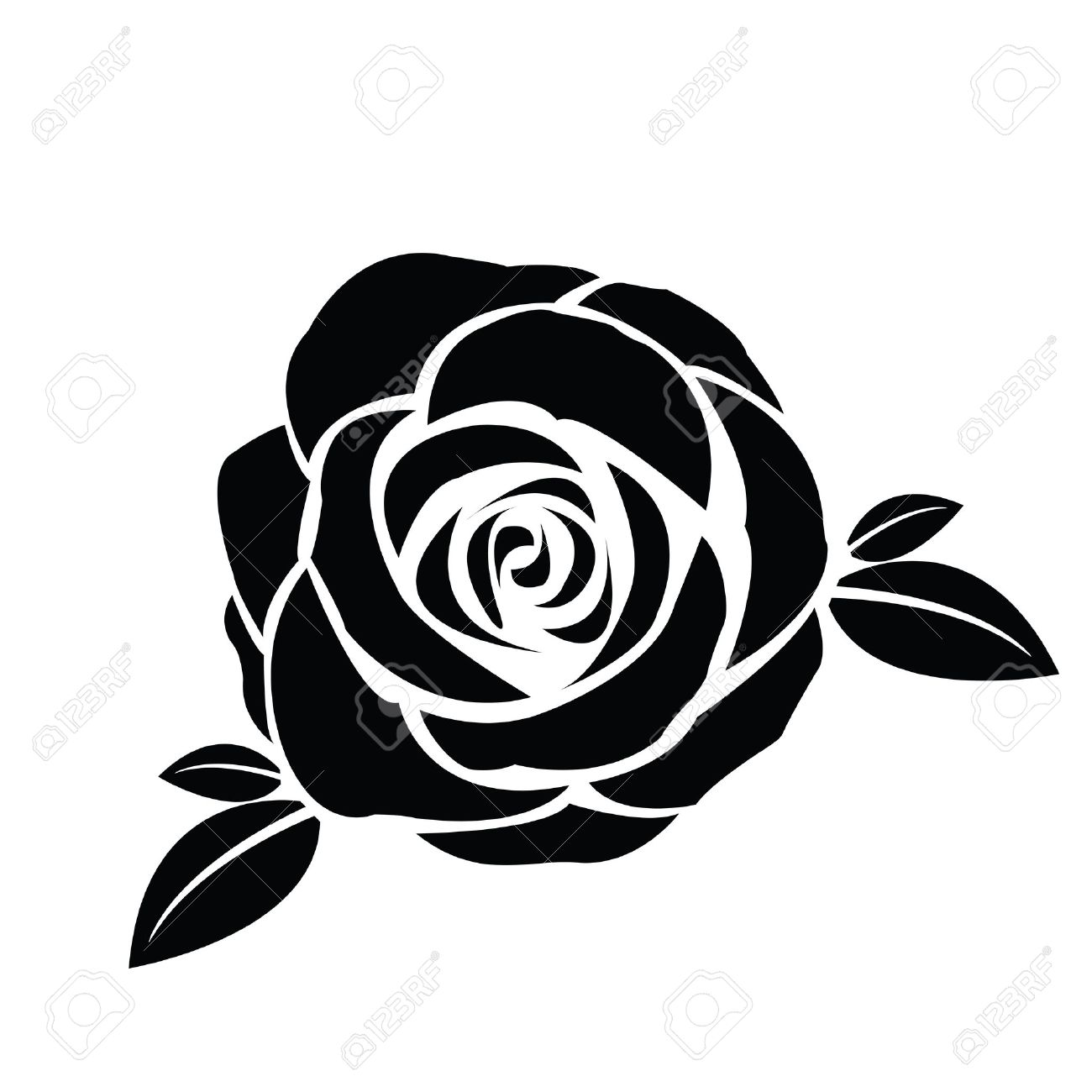 black silhouette of rose with leaves royalty free cliparts vectors rh 123rf com vector rose border vector rose pattern