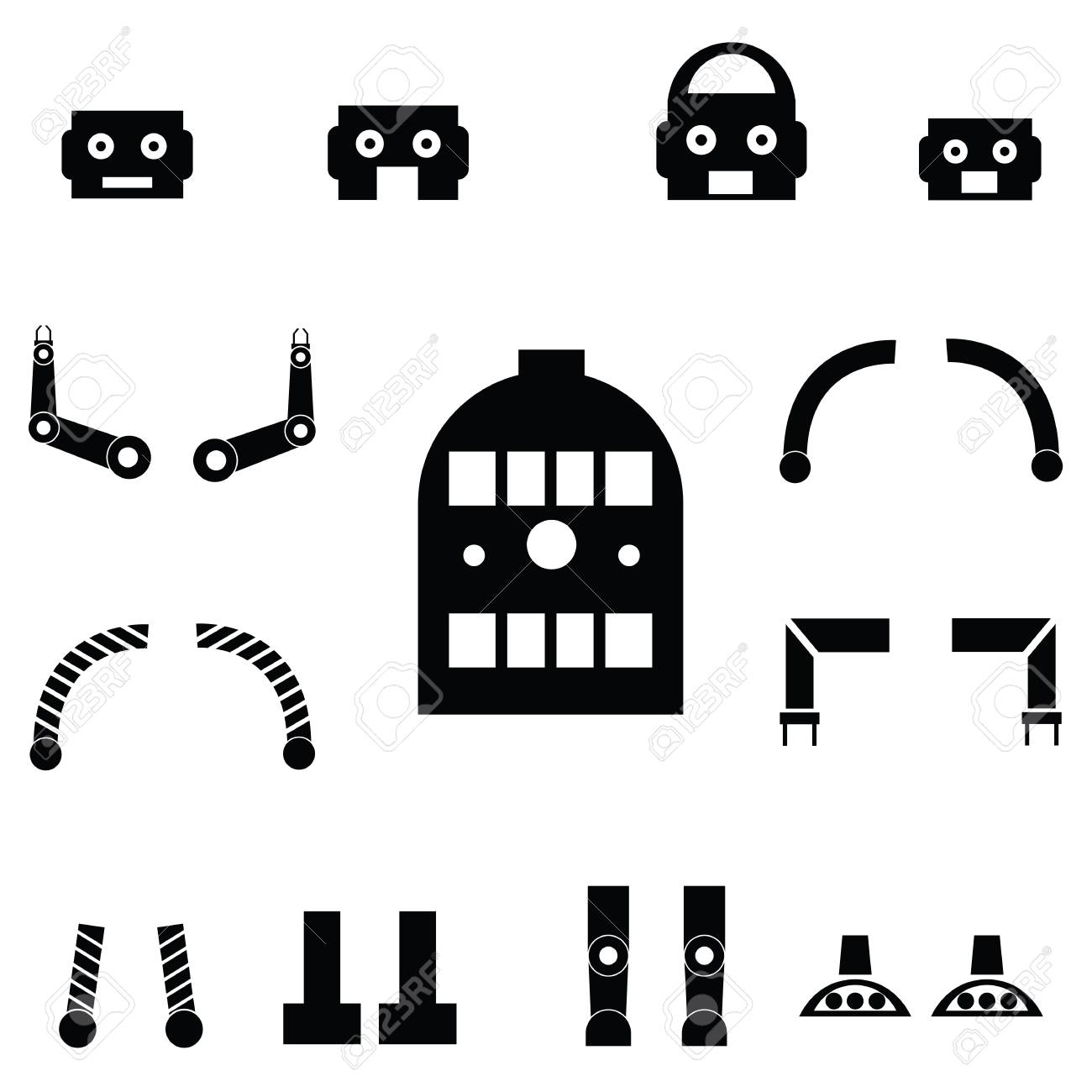 Robot parts icon set