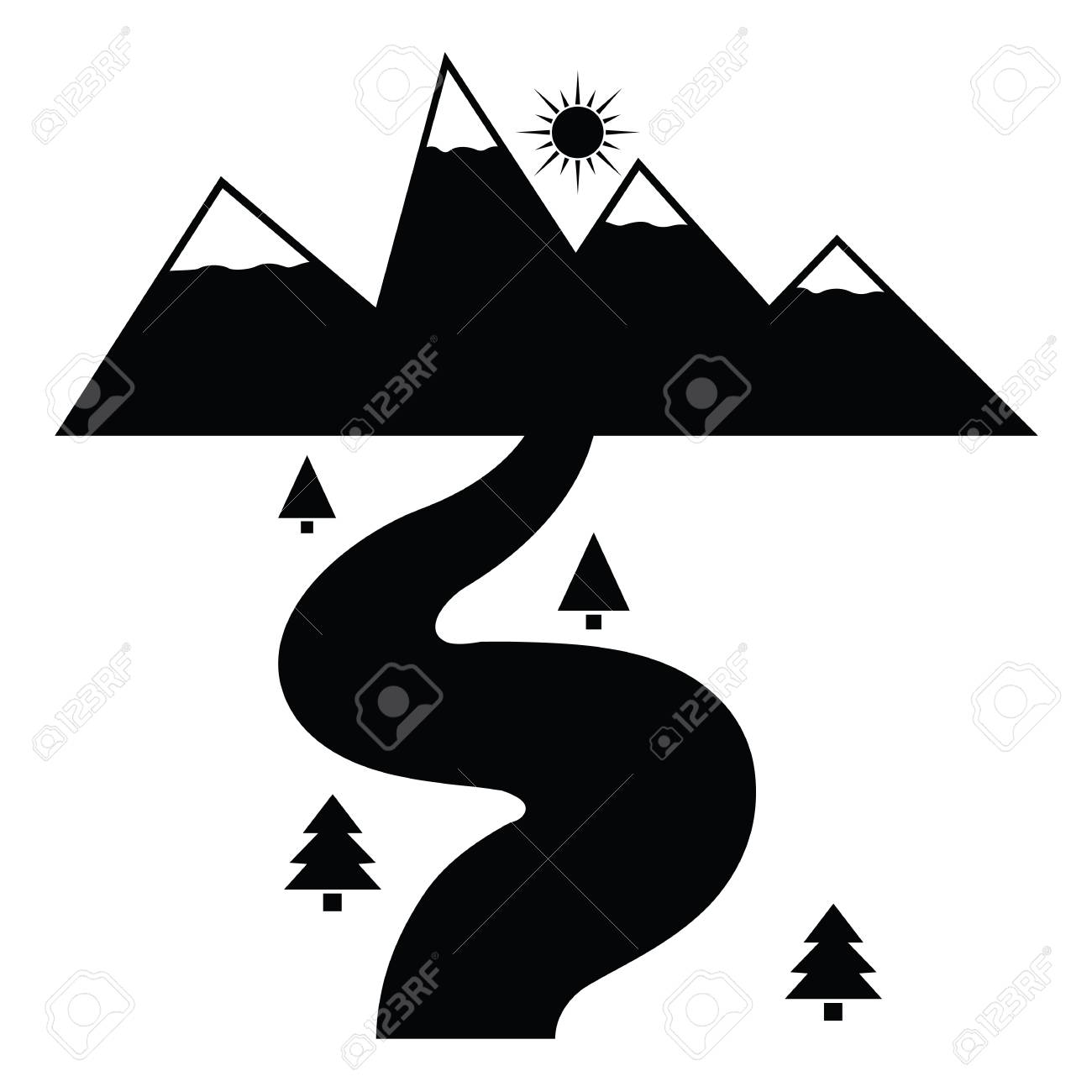 illustration of river icon in black and white royalty free cliparts vectors and stock illustration image 87121939 123rf com