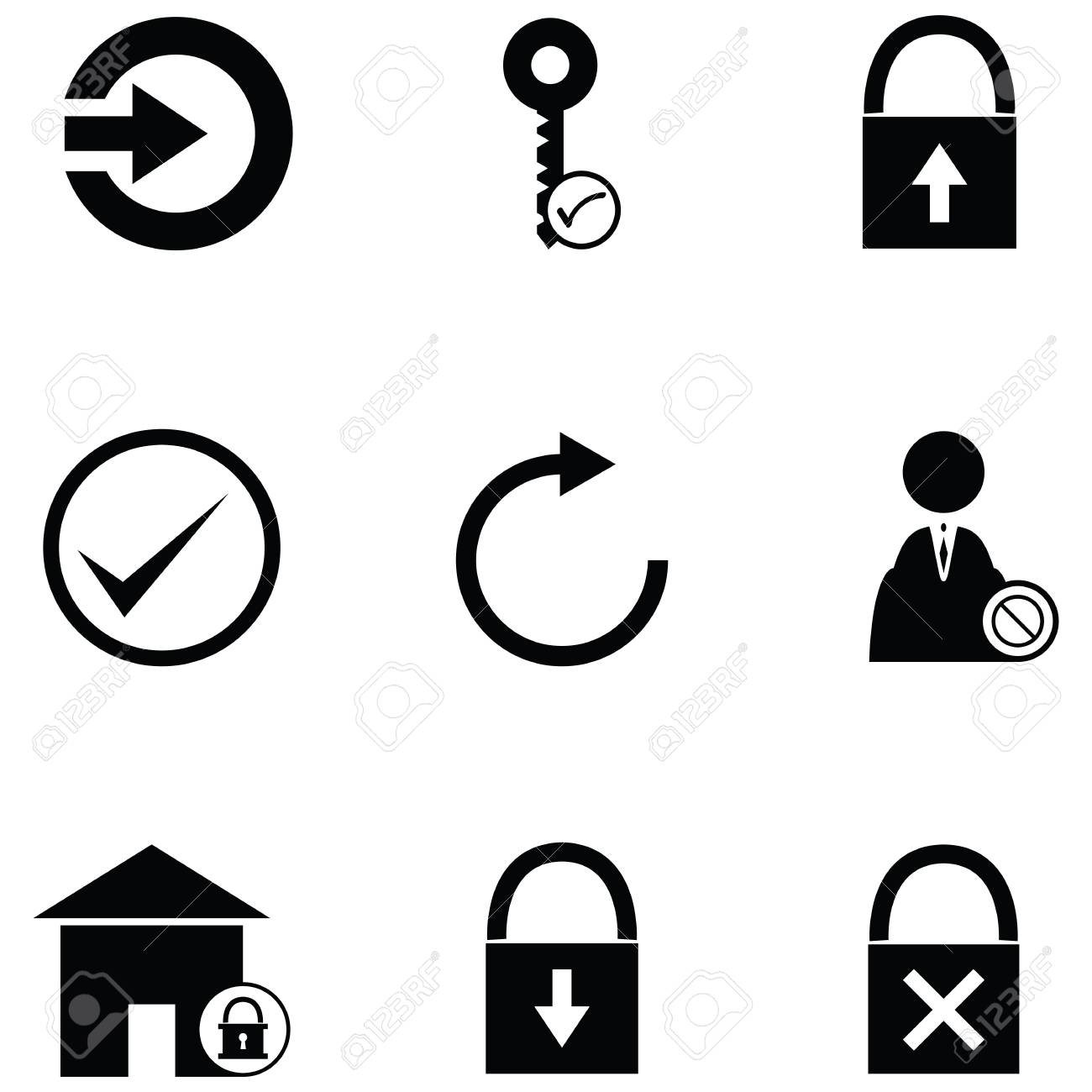 Login icon set on white background vector illustration