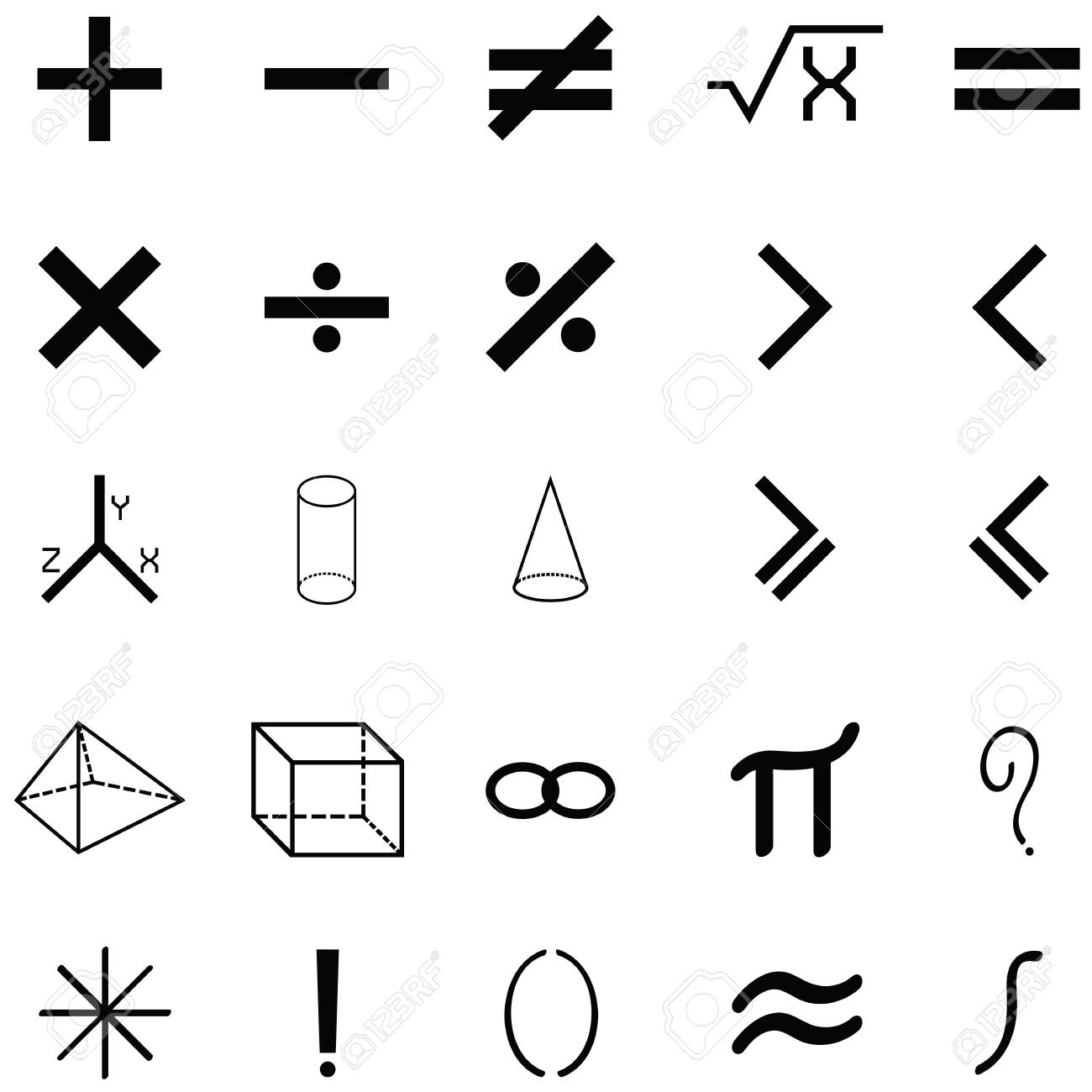Simple Math Icon Set Royalty Free Cliparts, Vectors, And Stock ...