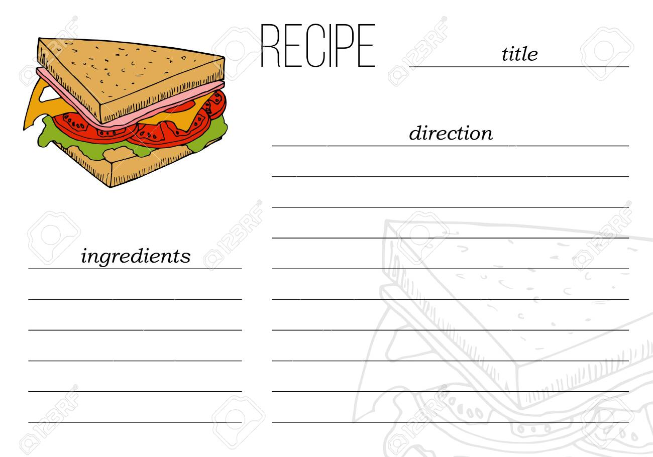 Simple recipe card template with fast food illustration in cartoon style. - 137335560