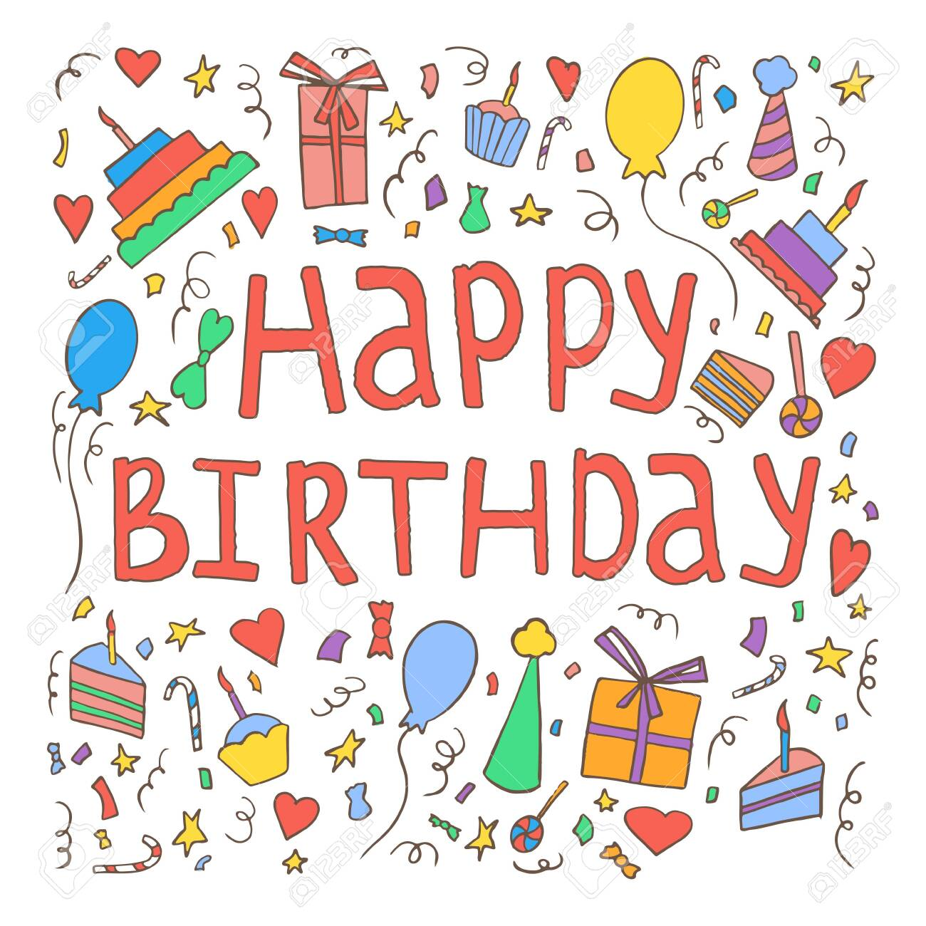 Happy birthday invitation card template. Hand drawn birthday elements, cakes, gift boxes, balloons, garlands, fireworks, candles and handwritten birthday phrase. - 144325205