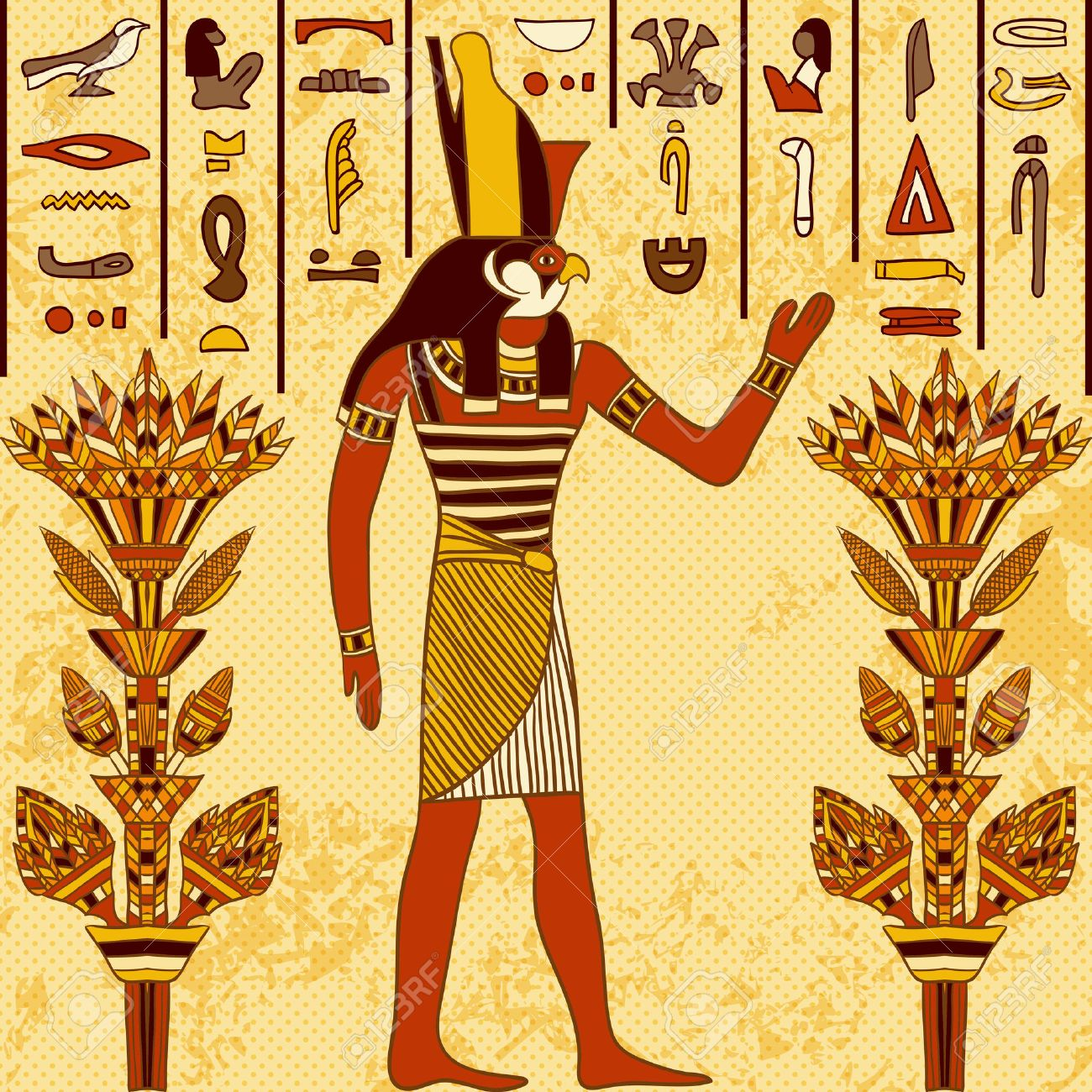 Vintage poster with egyptian god on the grunge background with ancient egyptian hieroglyphs and floral elements. Retro hand drawn vector illustration - 43922032