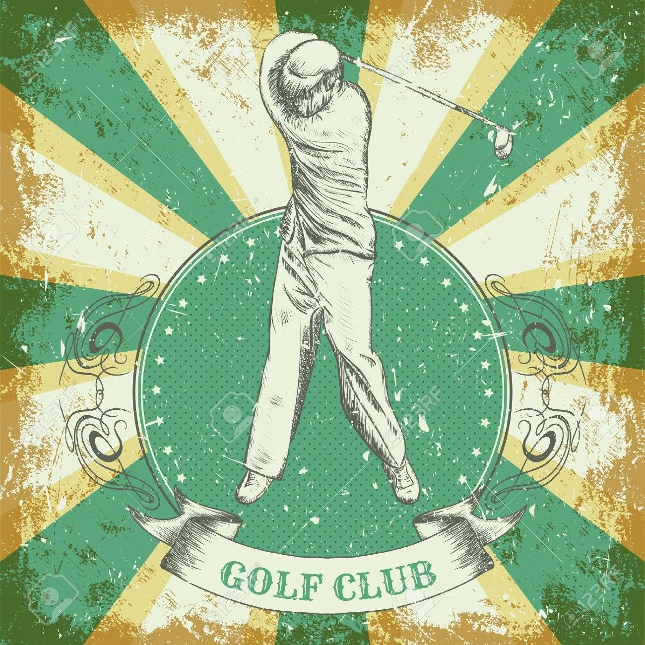 """vintage poster with man playing golf. Retro hand drawn vector illustration """"golf club"""" in sketch style with grunge background - 43922034"""