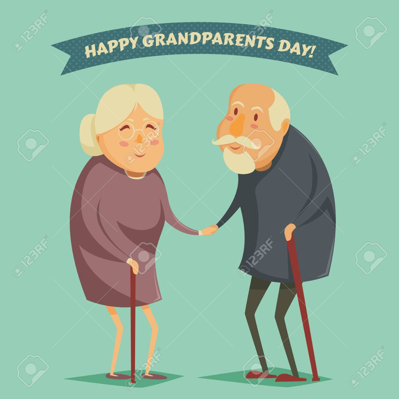 Happy grandparents holding hands. Happy grandparents day poster. Vector illustration in cartoon style - 43922067