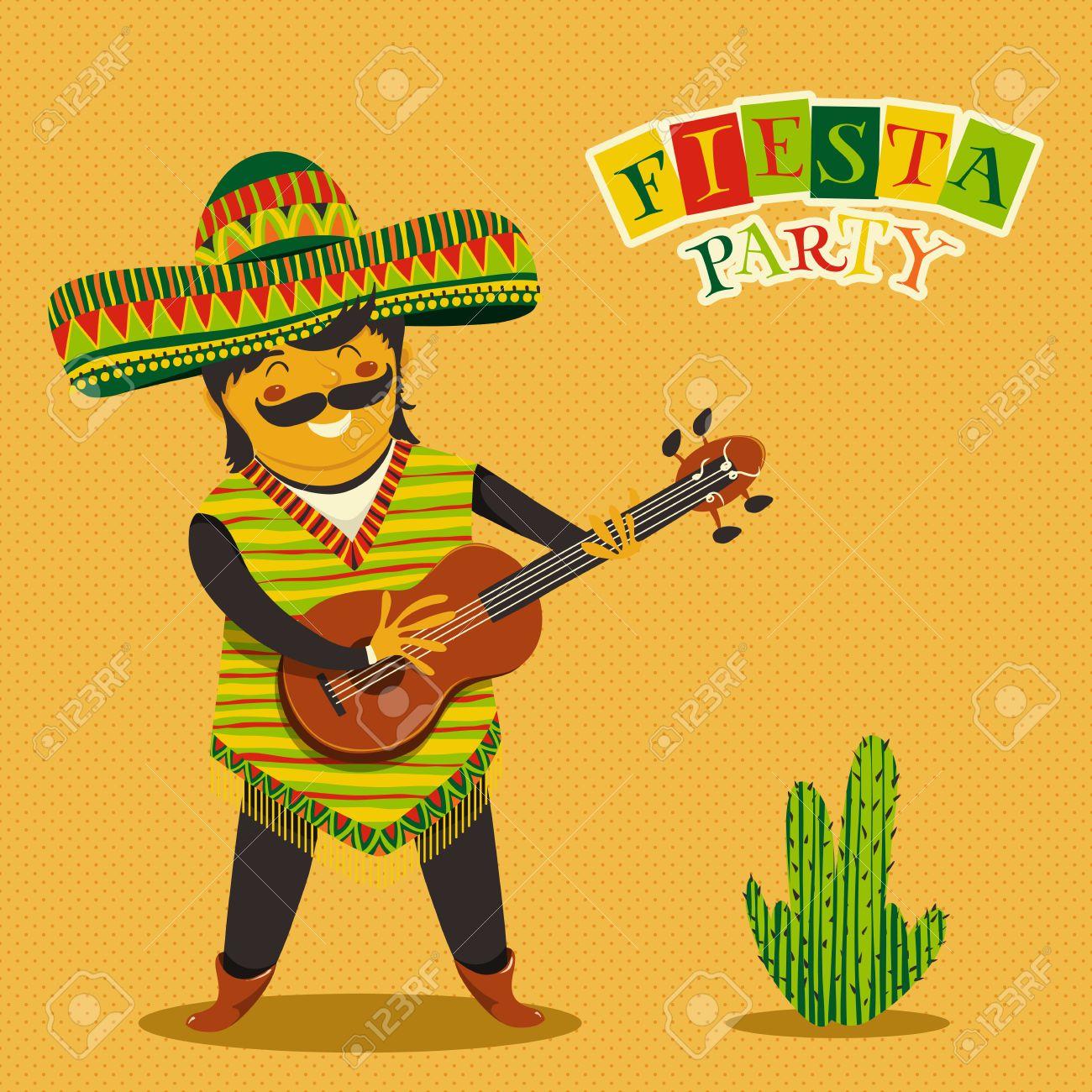 Invitación De La Fiesta Fiesta Mexicana Con Hombre Mexicano Tocando La Guitarra En Un Sombrero Y Cactuse Dibujado A Mano Ilustración Del Cartel